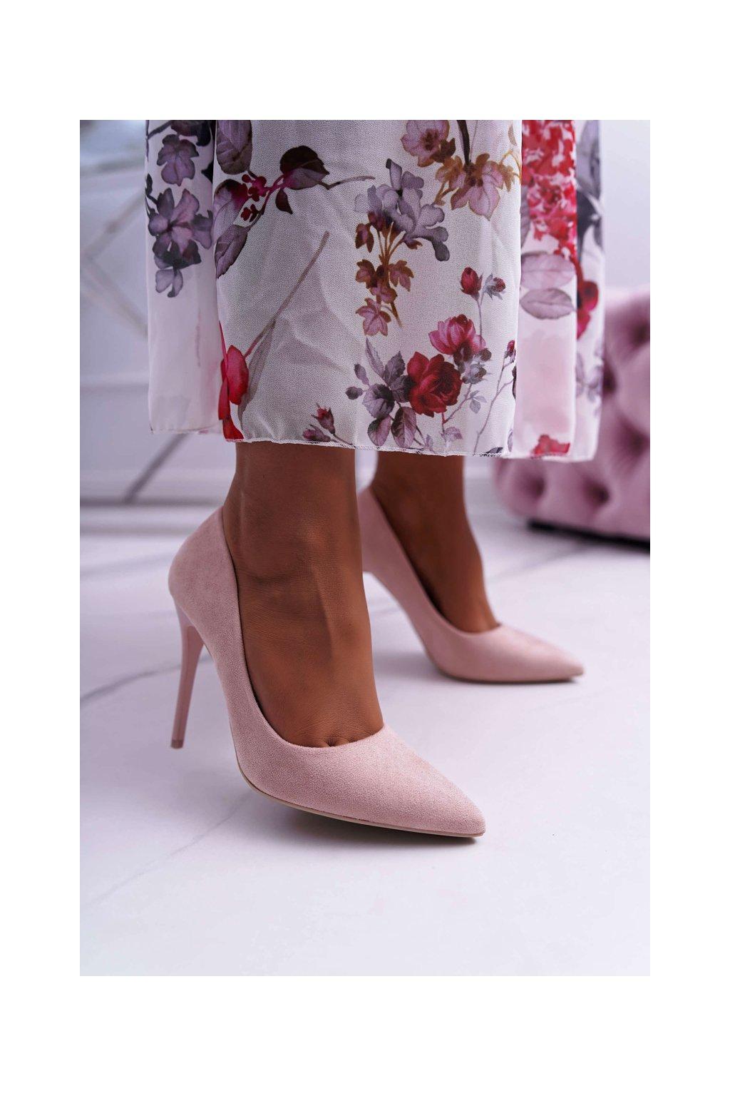 Dámske lodičky farba ružová kód obuvi LE07 PINK
