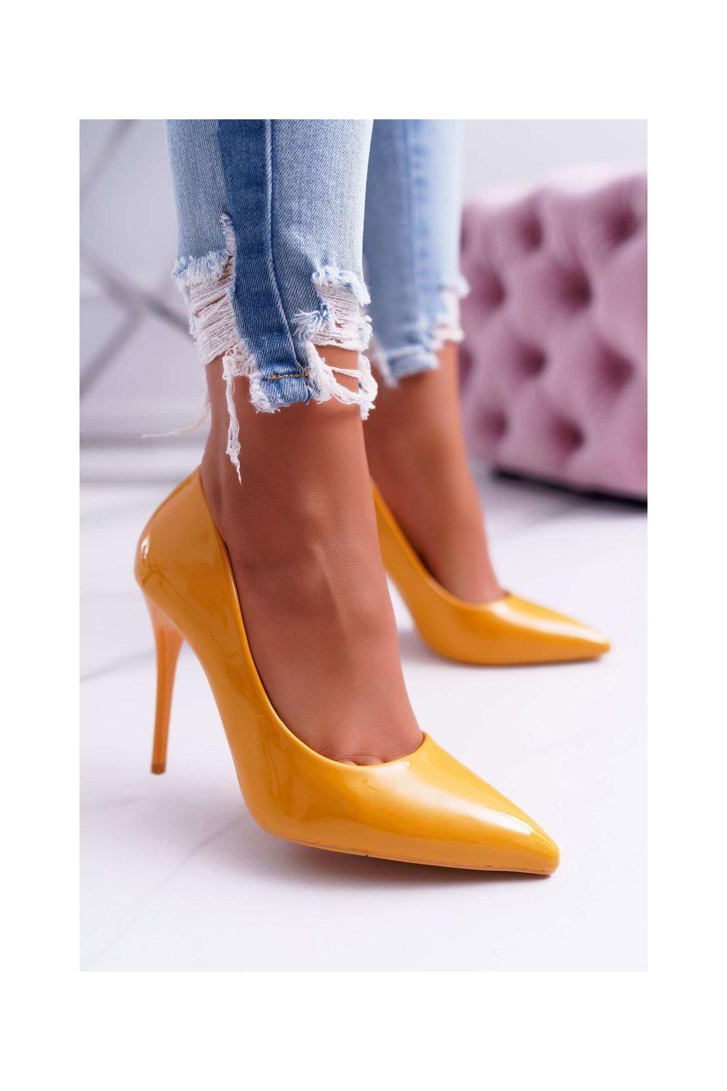 Dámske lodičky farba žltá kód obuvi LE03 YELLOW