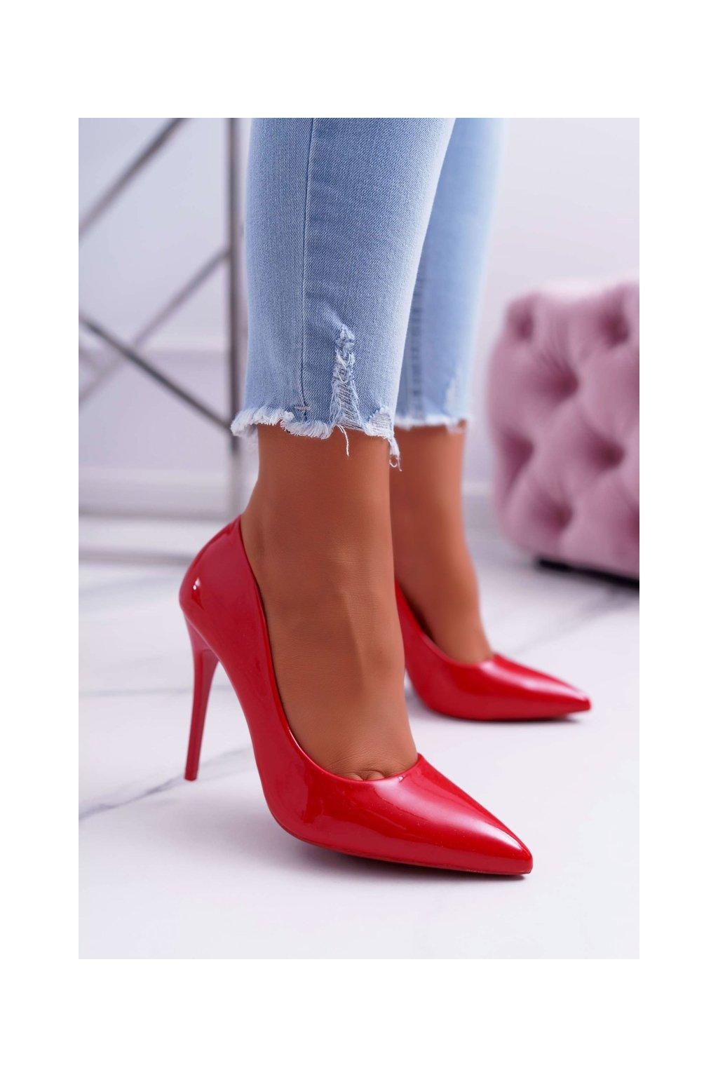 Dámske lodičky farba červená kód obuvi LE03 RED
