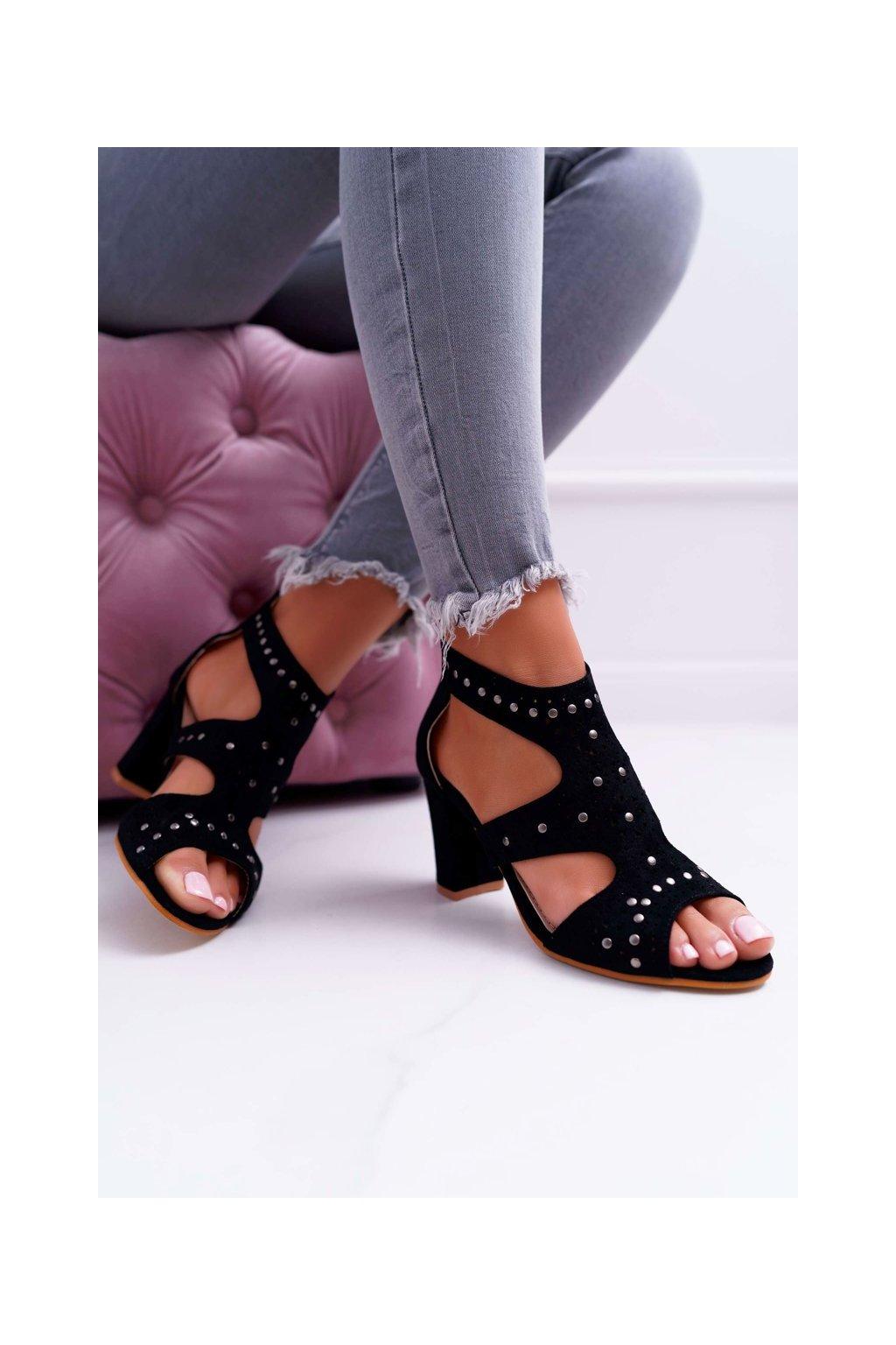 Dámske sandále na podpätku farba čierna kód obuvi 1162-973 BLK