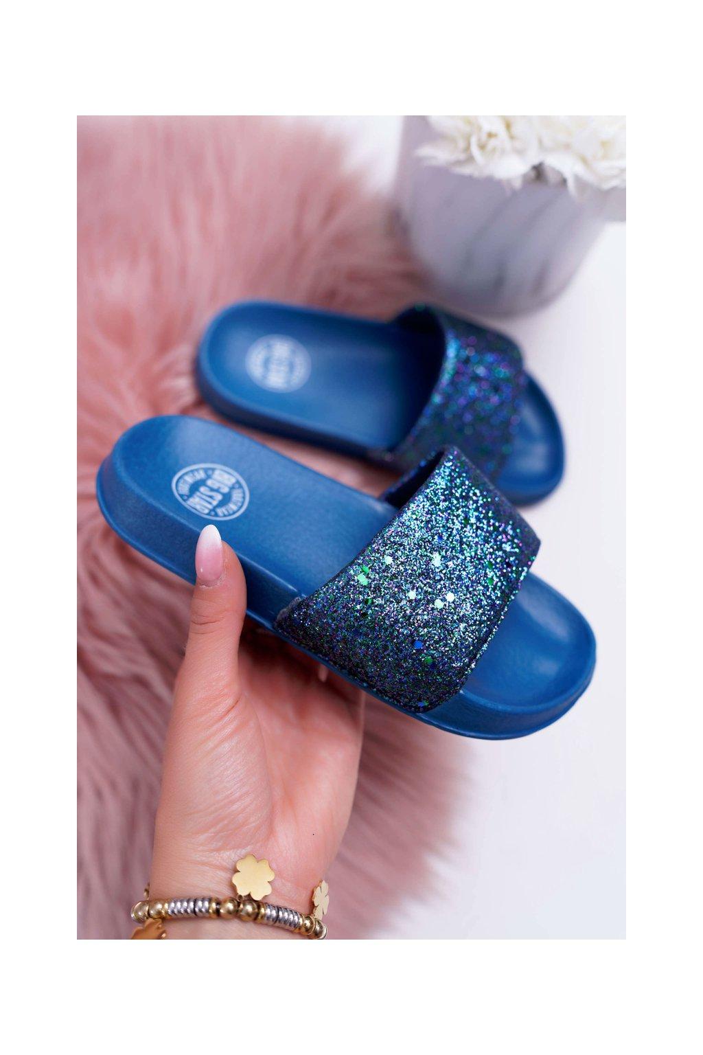 Detské šľapky B. Star tmavo modré Brokátové AA374089