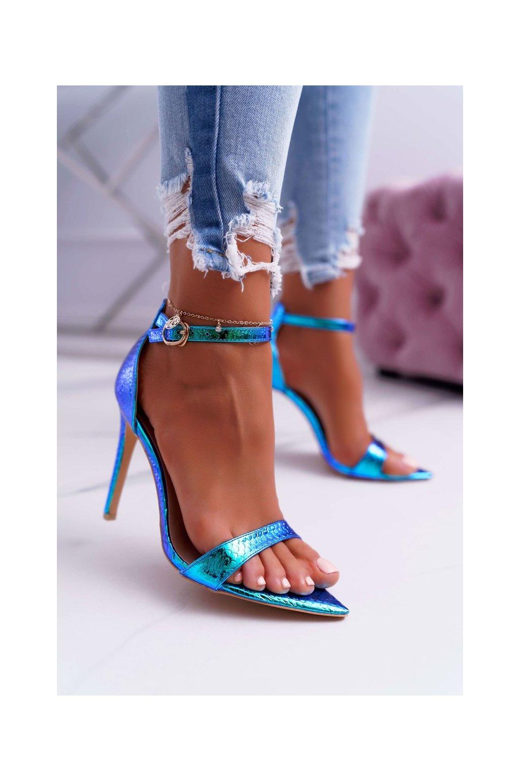 Dámske sandále na podpätku farba viacfarebná kód obuvi 0982-2B GREEN
