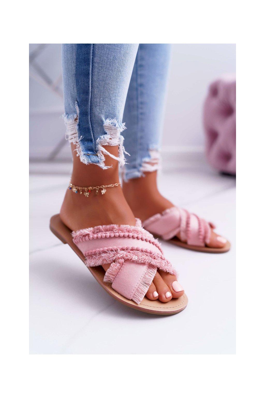 Dámske šľapky farba ružová kód obuvi 7269-20 PINK