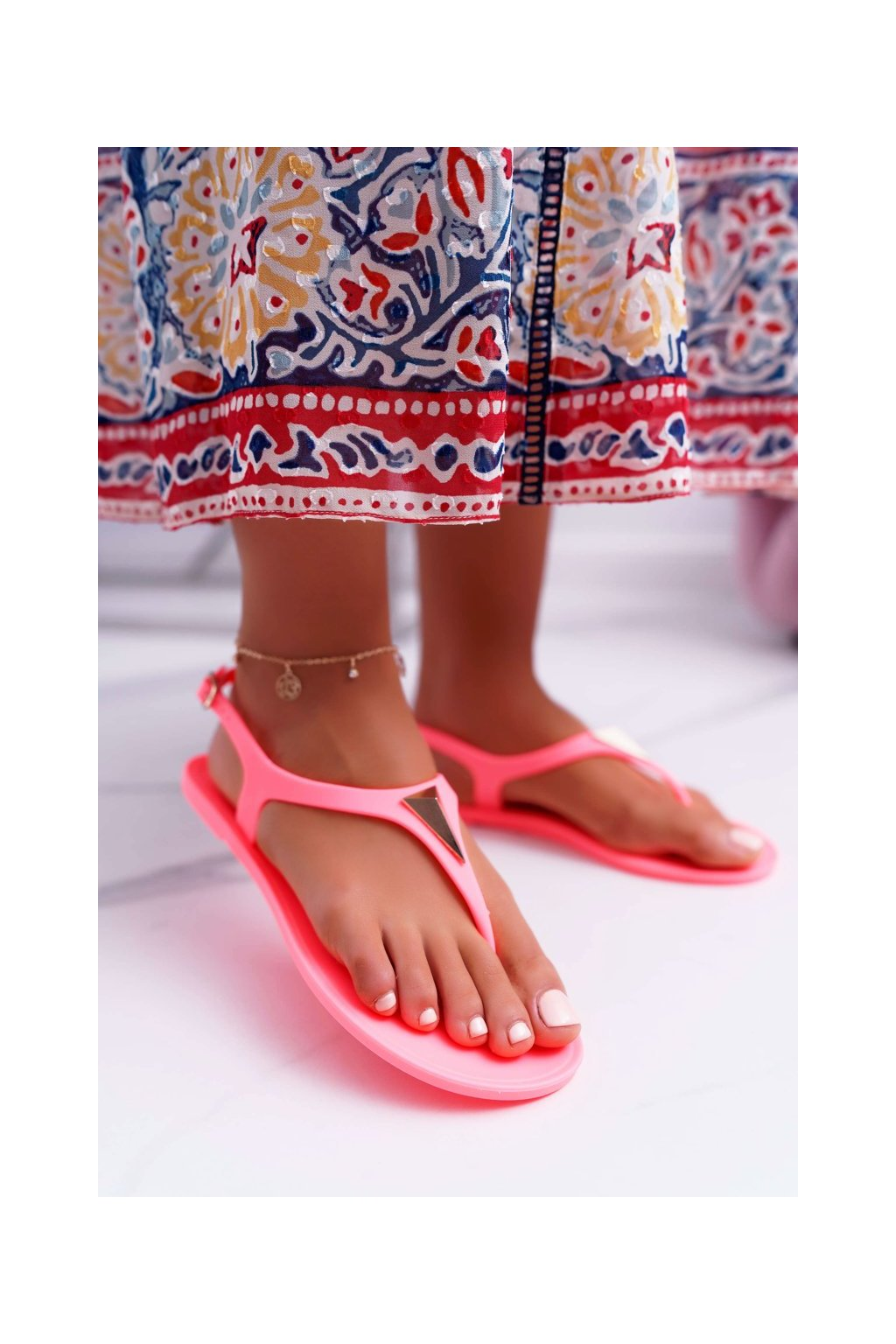Dámske sandále farba oranžová kód obuvi KM08-5 ORANGE