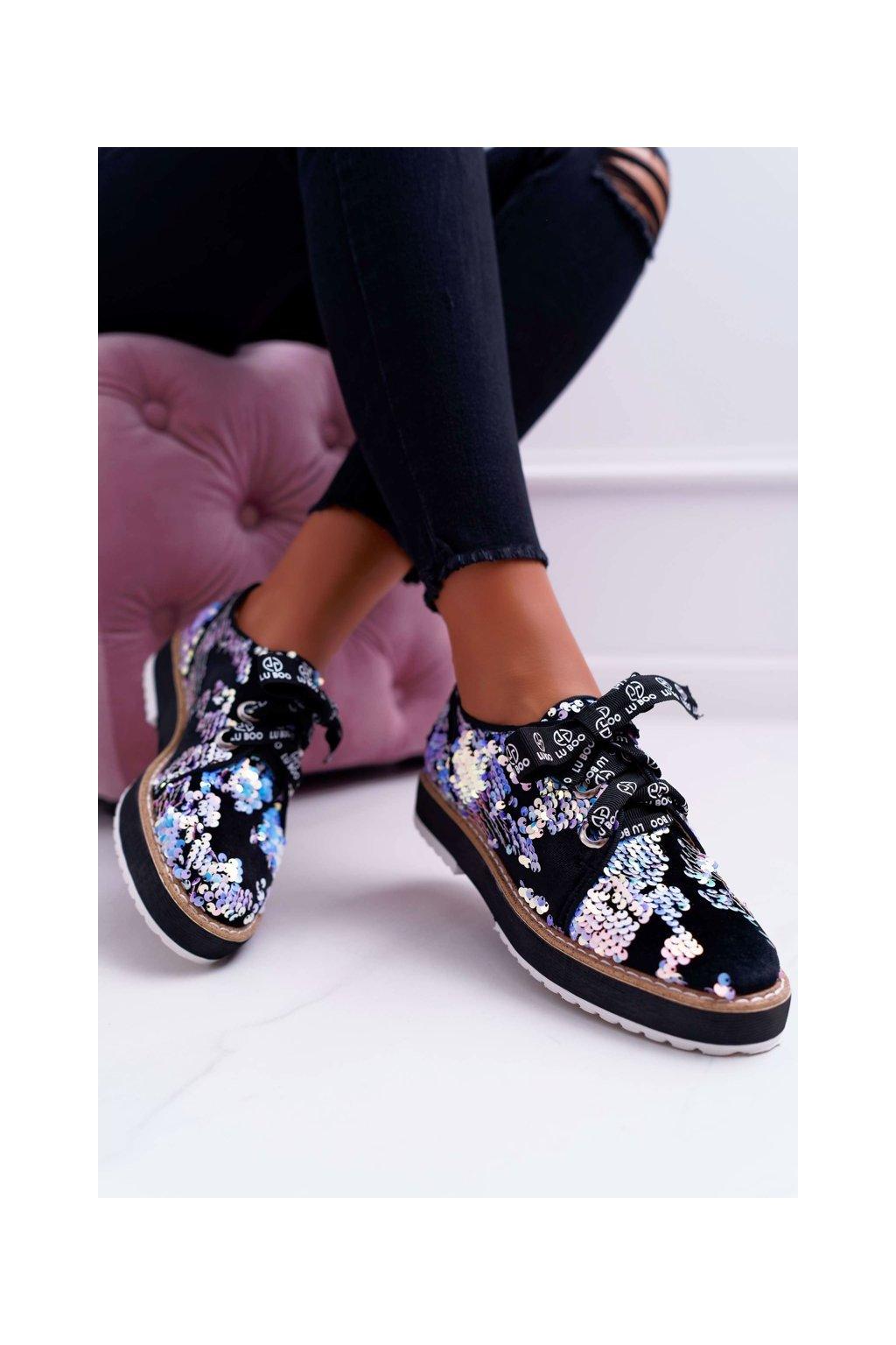 Dámske poltopánky farba čierna kód obuvi LXC SILVER MULTI