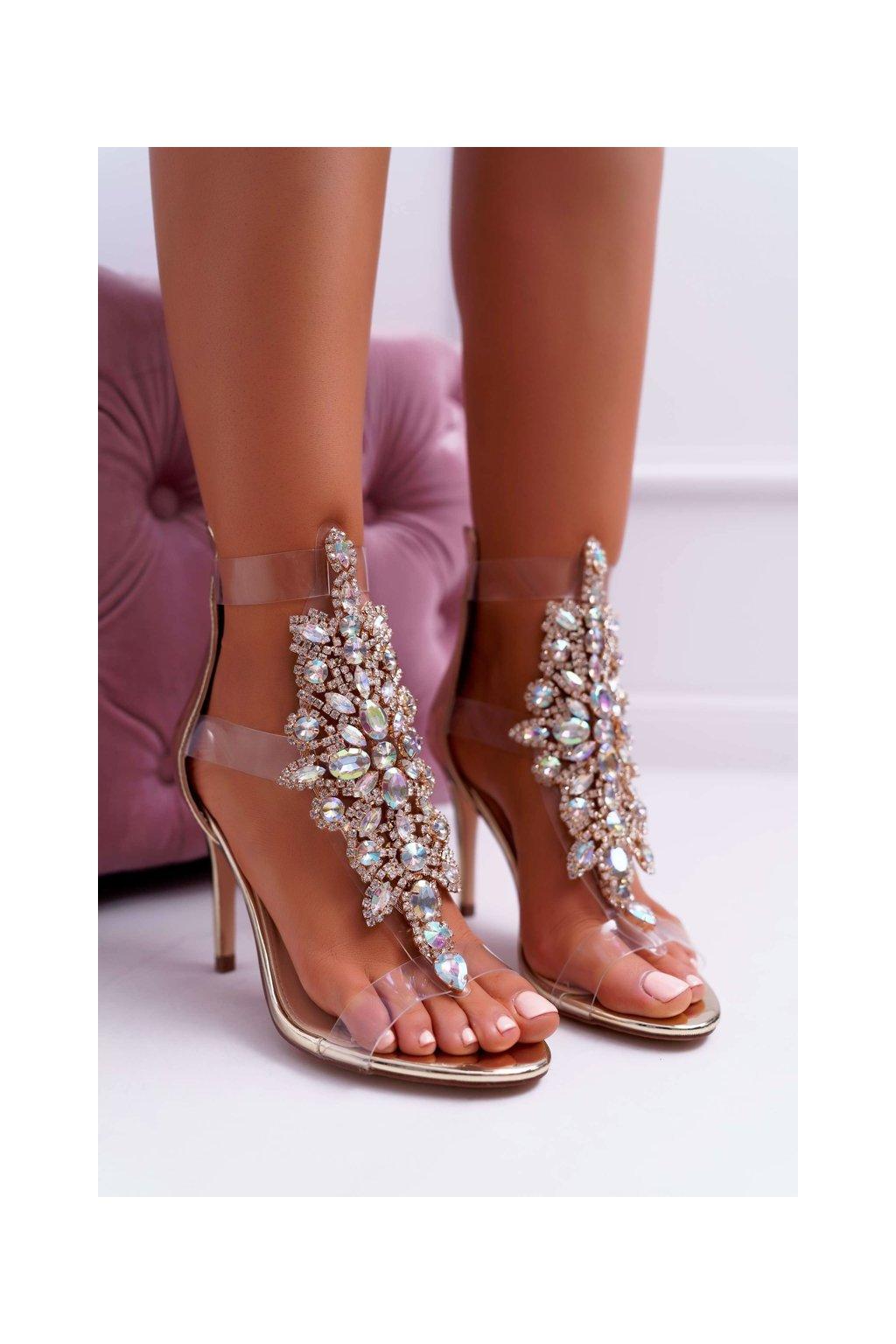 Dámske sandále na podpätku farba žltá kód obuvi 2047-89 GOLD