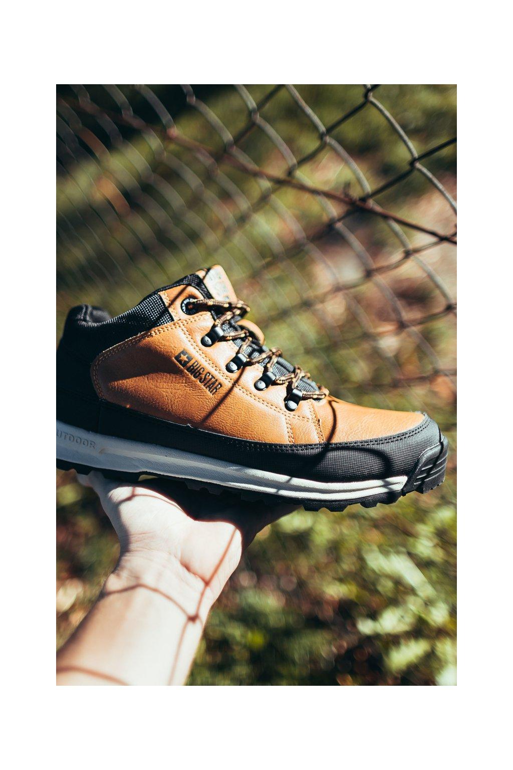 Pánske trekingové topánky farba hnedá kód obuvi EE174464 CAMEL