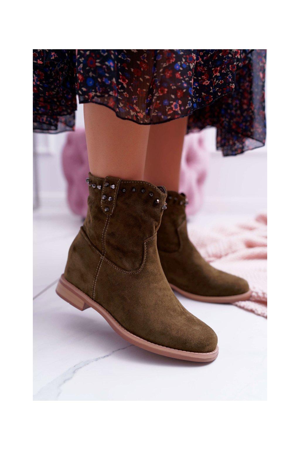Členkové topánky na podpätku farba zelená kód obuvi NC839 GREEN