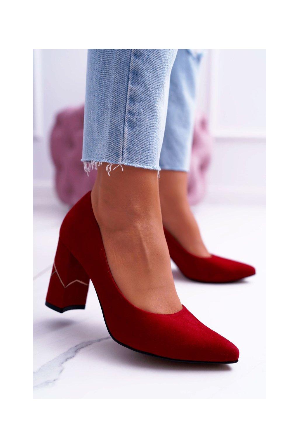 Dámske lodičky farba červená kód obuvi 2050 RED 082