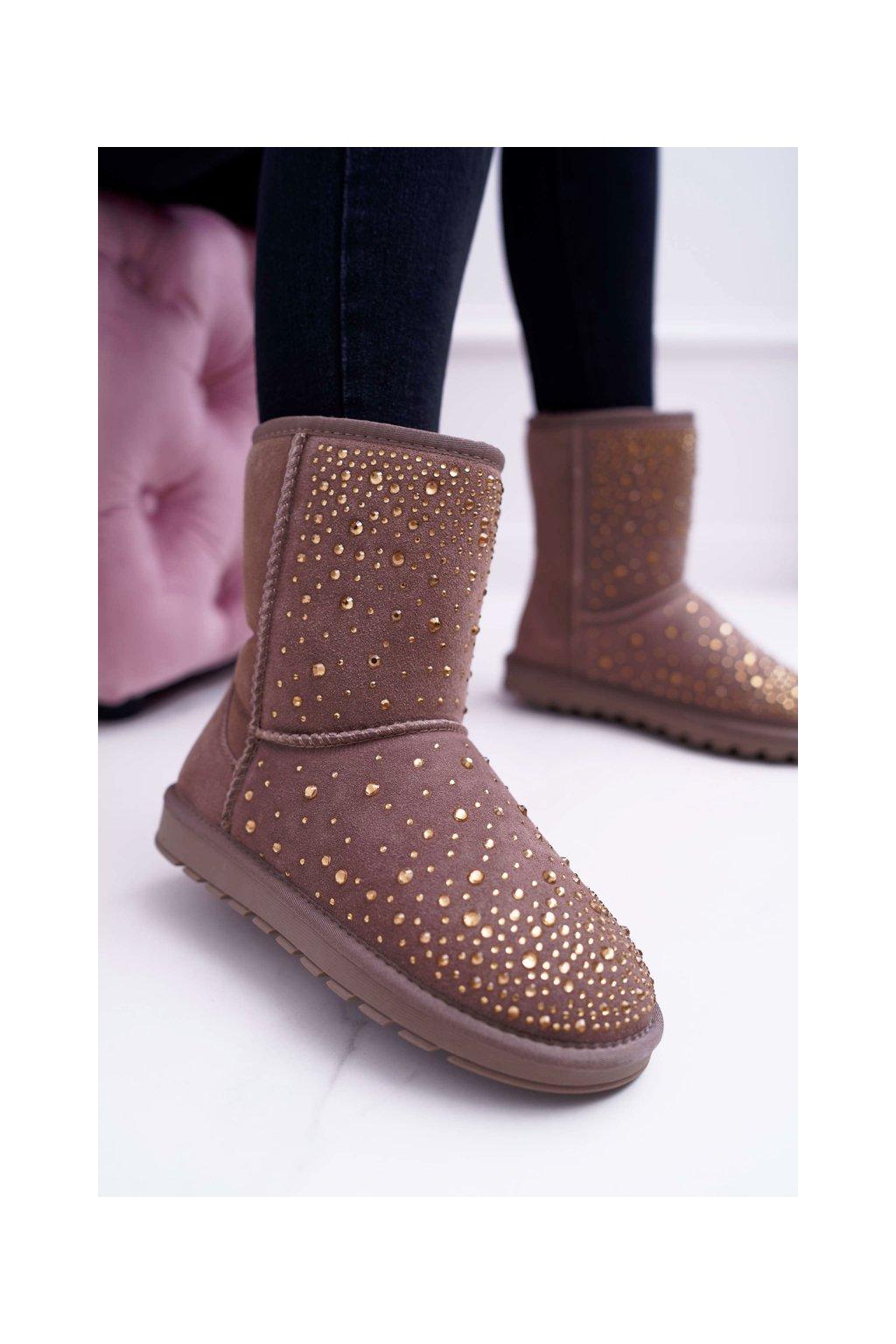 Khaki kožené topánky Snow Shine