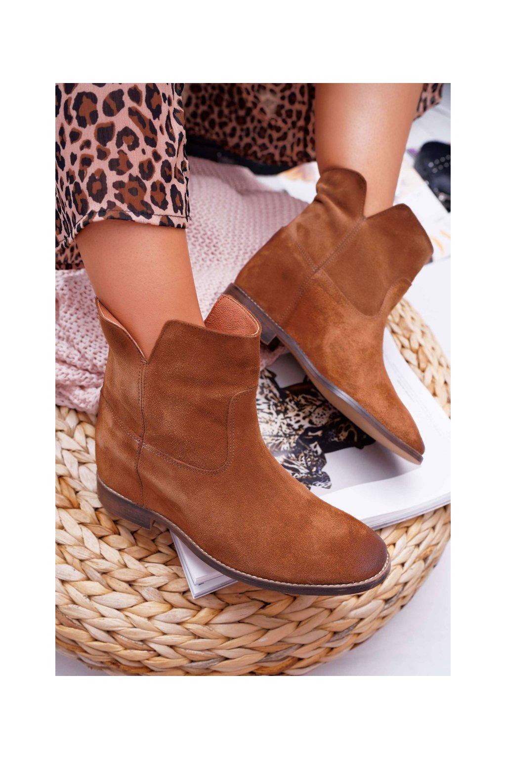 Členkové topánky na podpätku farba hnedá kód obuvi 2419 COGNAC/W