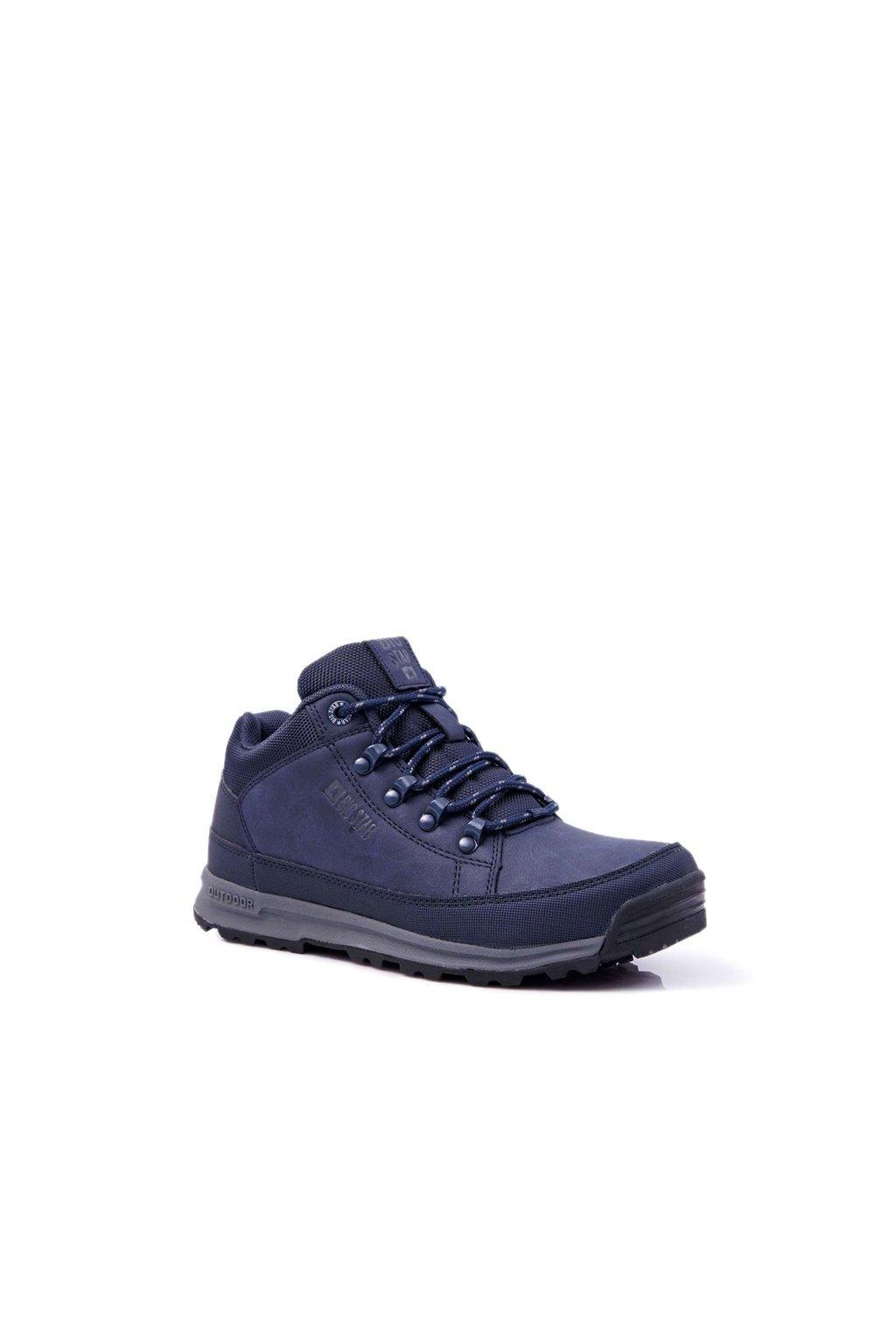 Pánske trekingové topánky farba modrá kód obuvi EE174466 NAVY