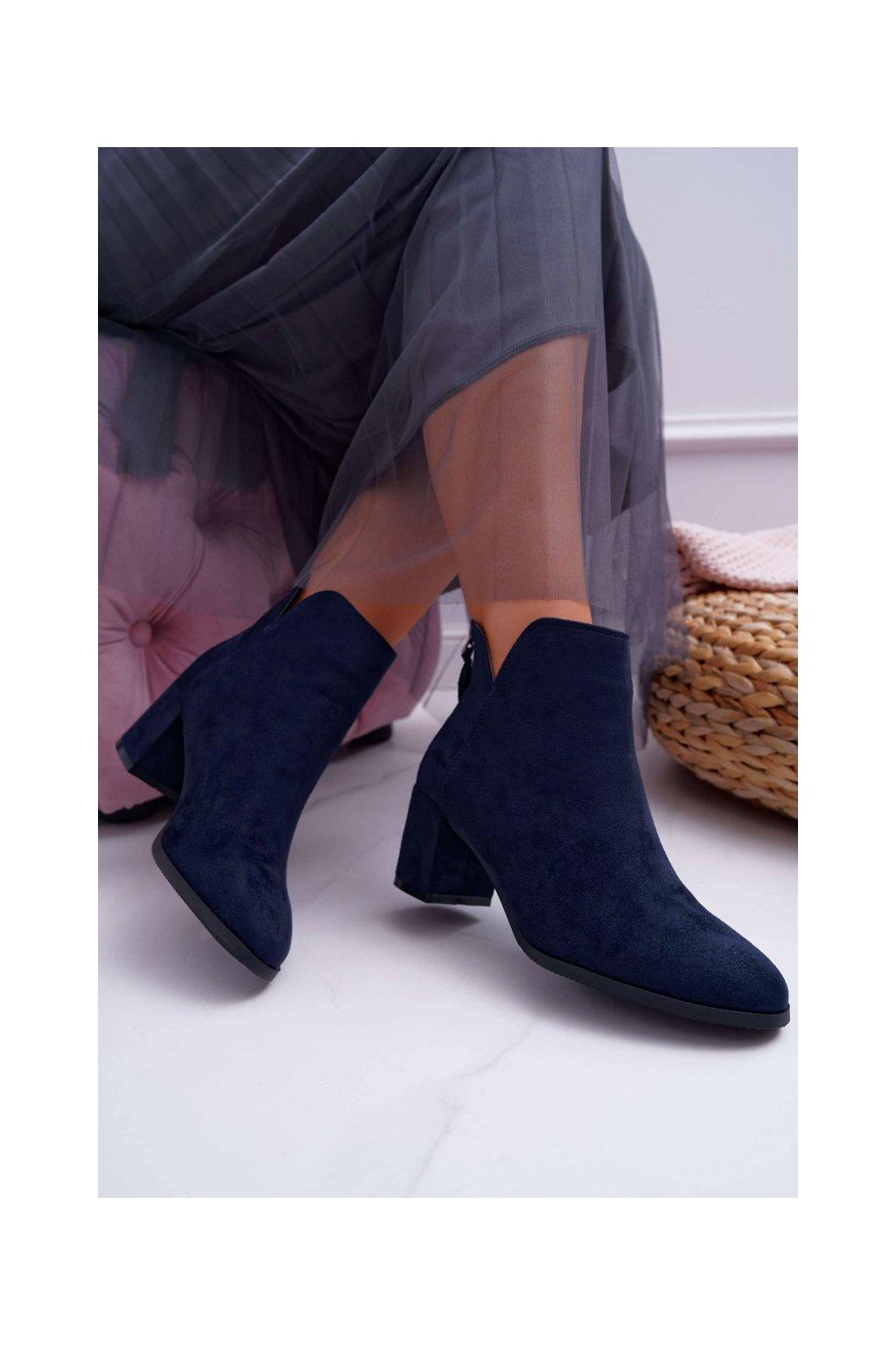 Dámske členkové topánky na podpätku Semišové Modré Mimosa