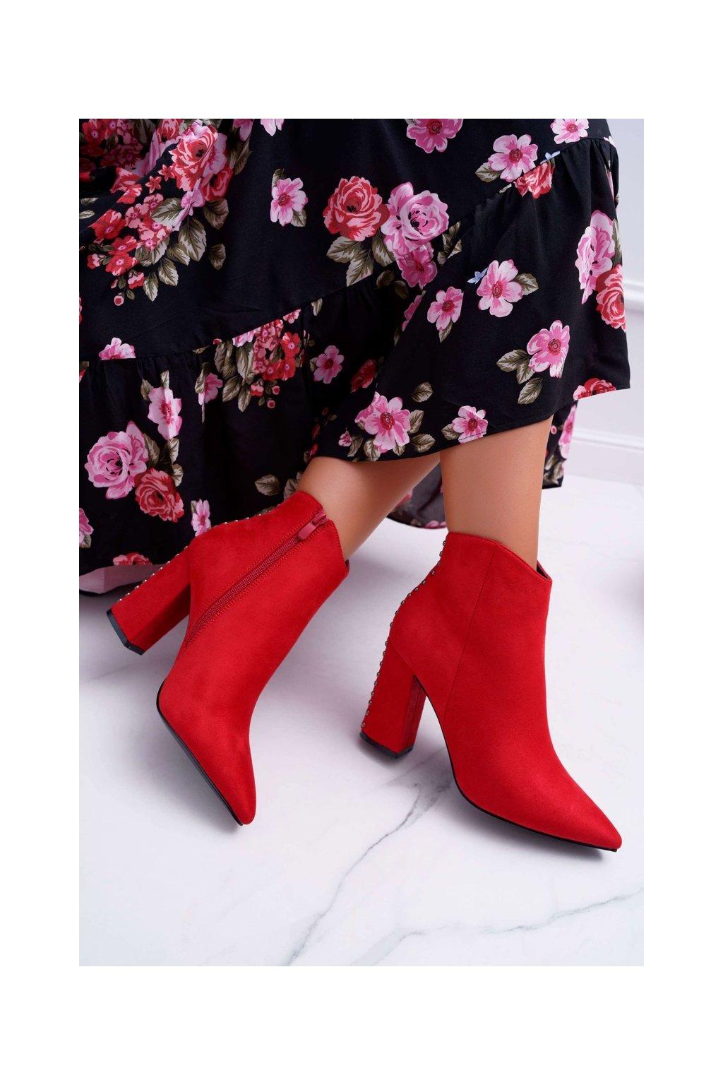 Členkové topánky na podpätku farba červená kód obuvi RB23P RED