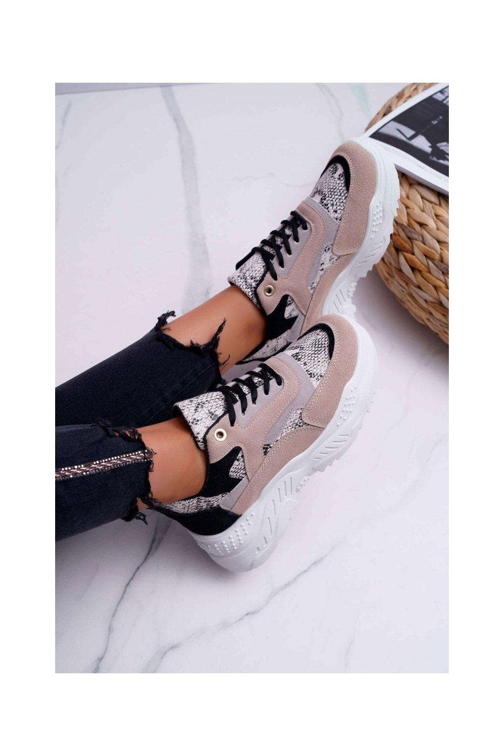 Dámska športová obuv s hrubou podrážkou béžové had Miltru