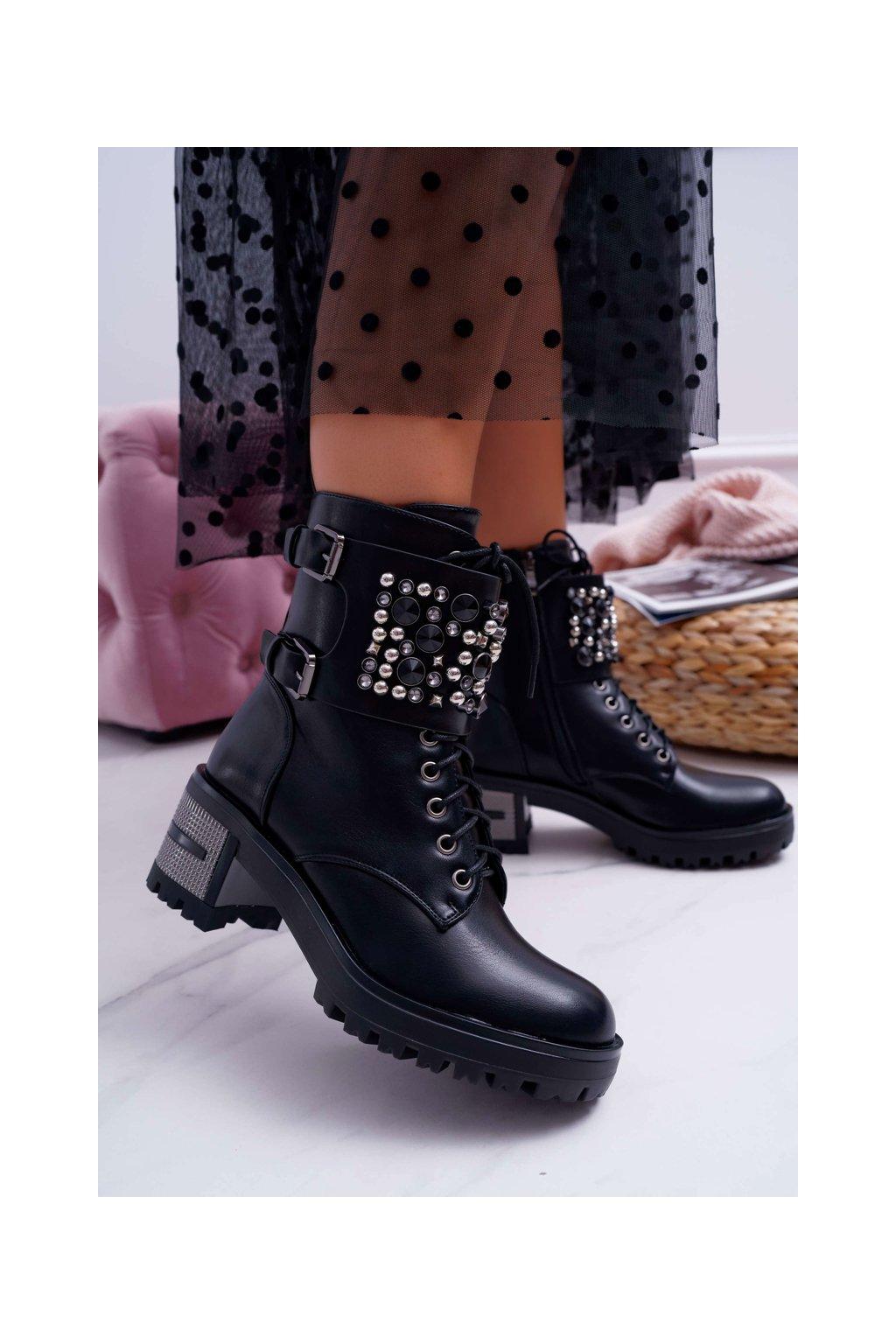Dámske členkové topánky topánky s Klopou čierne Infinity