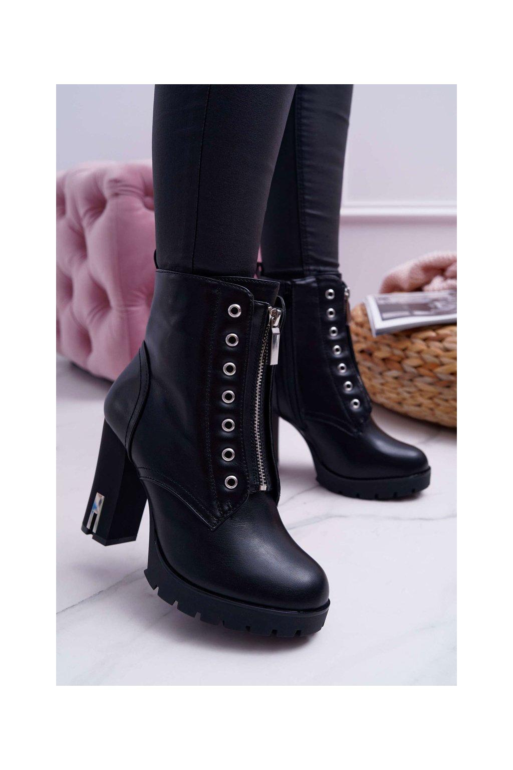 Dámske členkové topánky na podpätku s ozdobným zipsom čierne Imagine