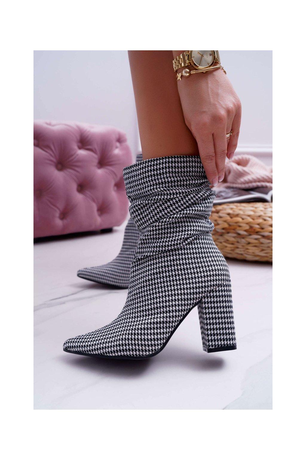 Dámske členkové topánky černobiele Vibe