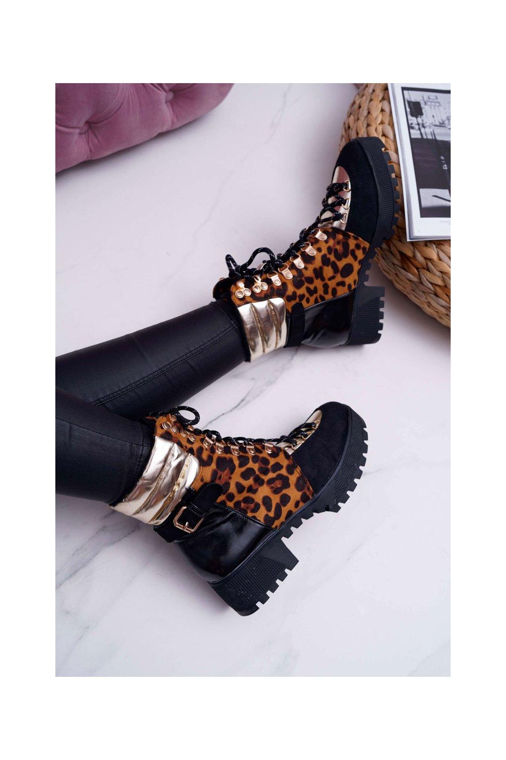 Členkové topánky na podpätku farba čierna kód obuvi GF130 LEOPARD