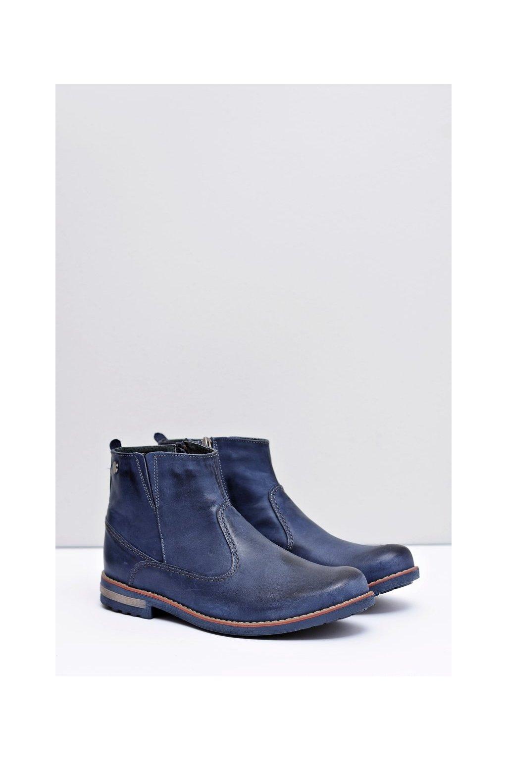 Kožené pánske tmavo modré vysoké topánky Serni