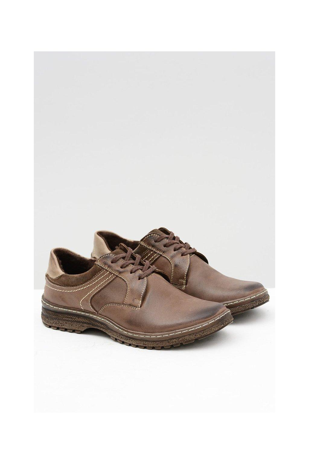 Hnedé kožené pánske teplé topánky Ernesto na zimu