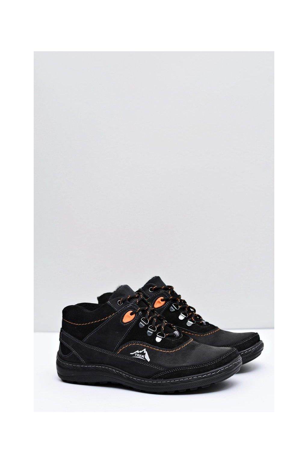 Pánske trekingové topánky farba čierna kód obuvi F701 BLK