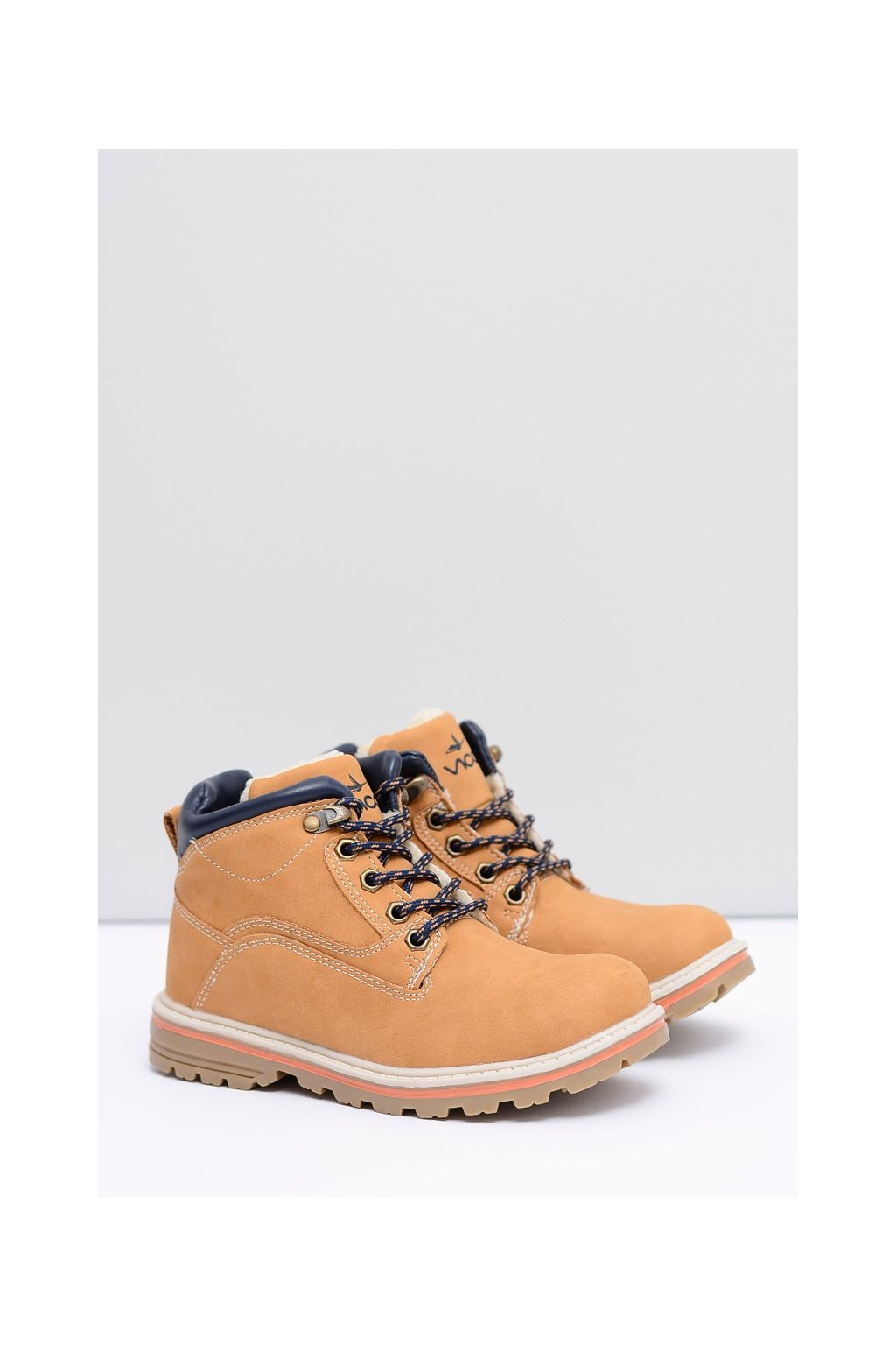 Detské členkové topánky farba hnedá kód obuvi VOP16D17-1 CAMEL