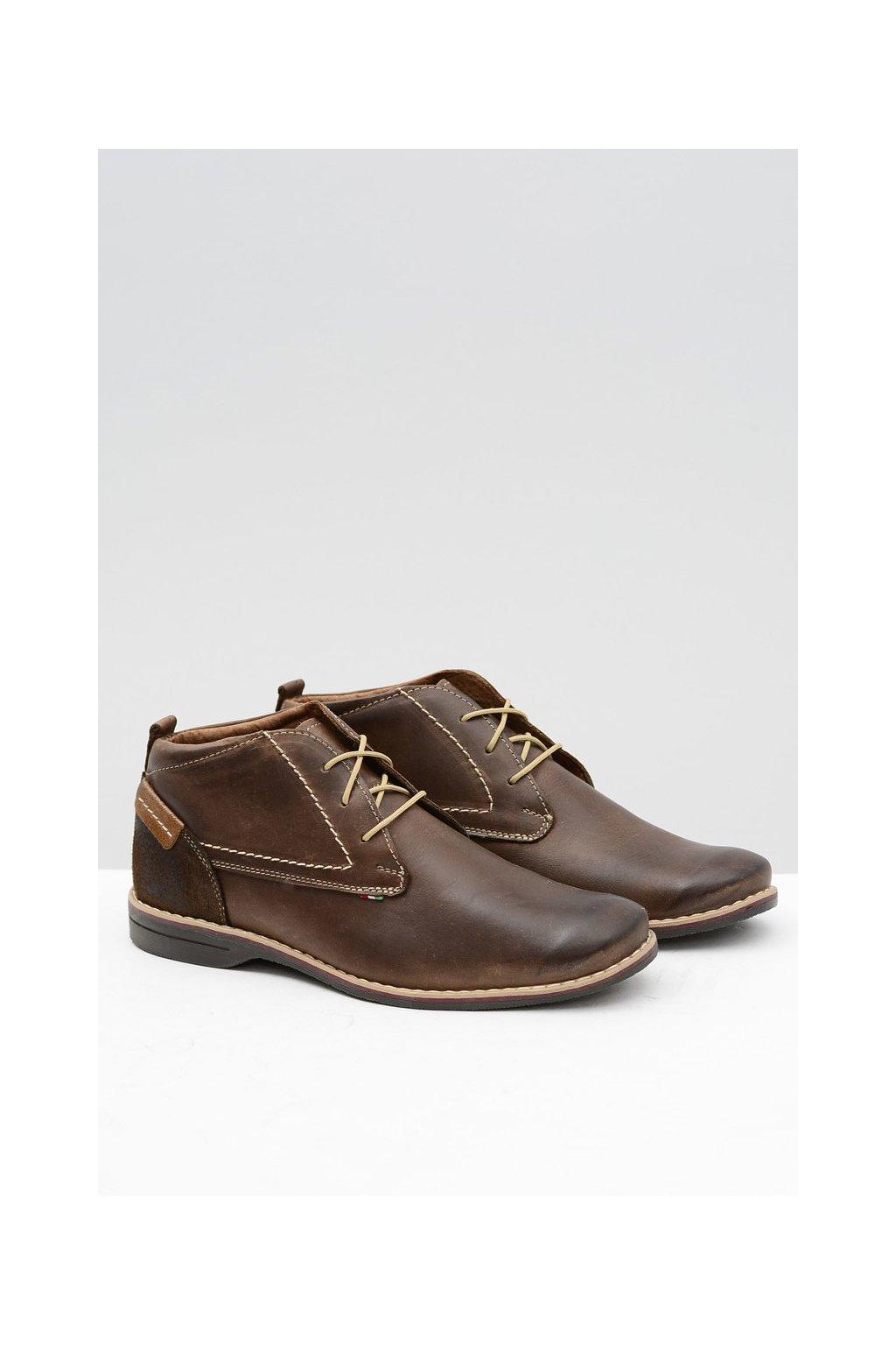 Hnedá vysoká pánska čipka-top topánky kožené Felci