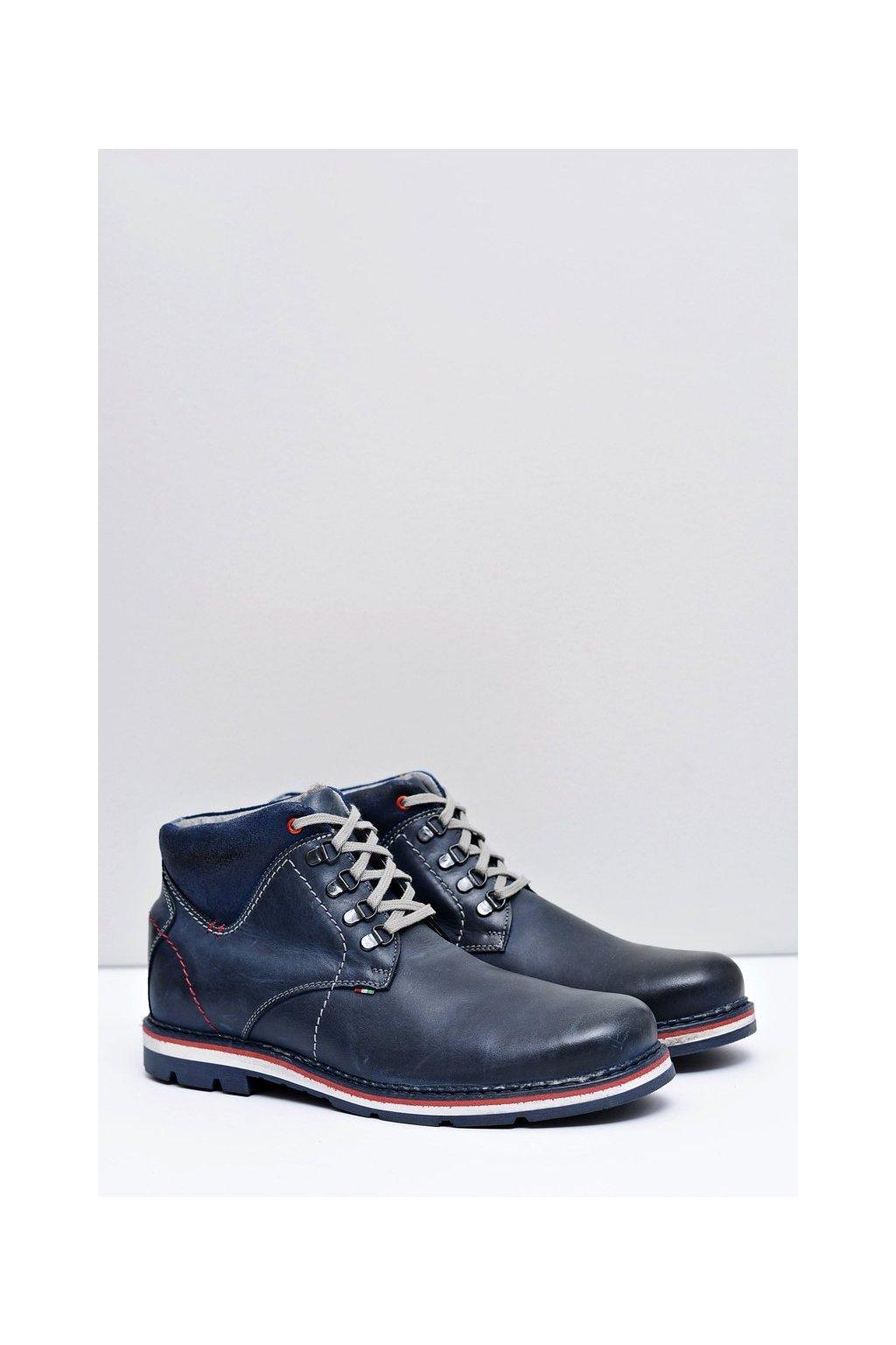 Modré pánske topánky kožené Futro Teslo