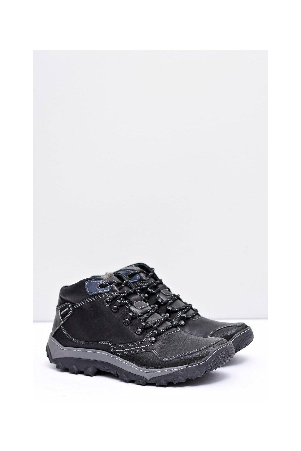 Pánske trekingové topánky farba čierna kód obuvi 250 BLK