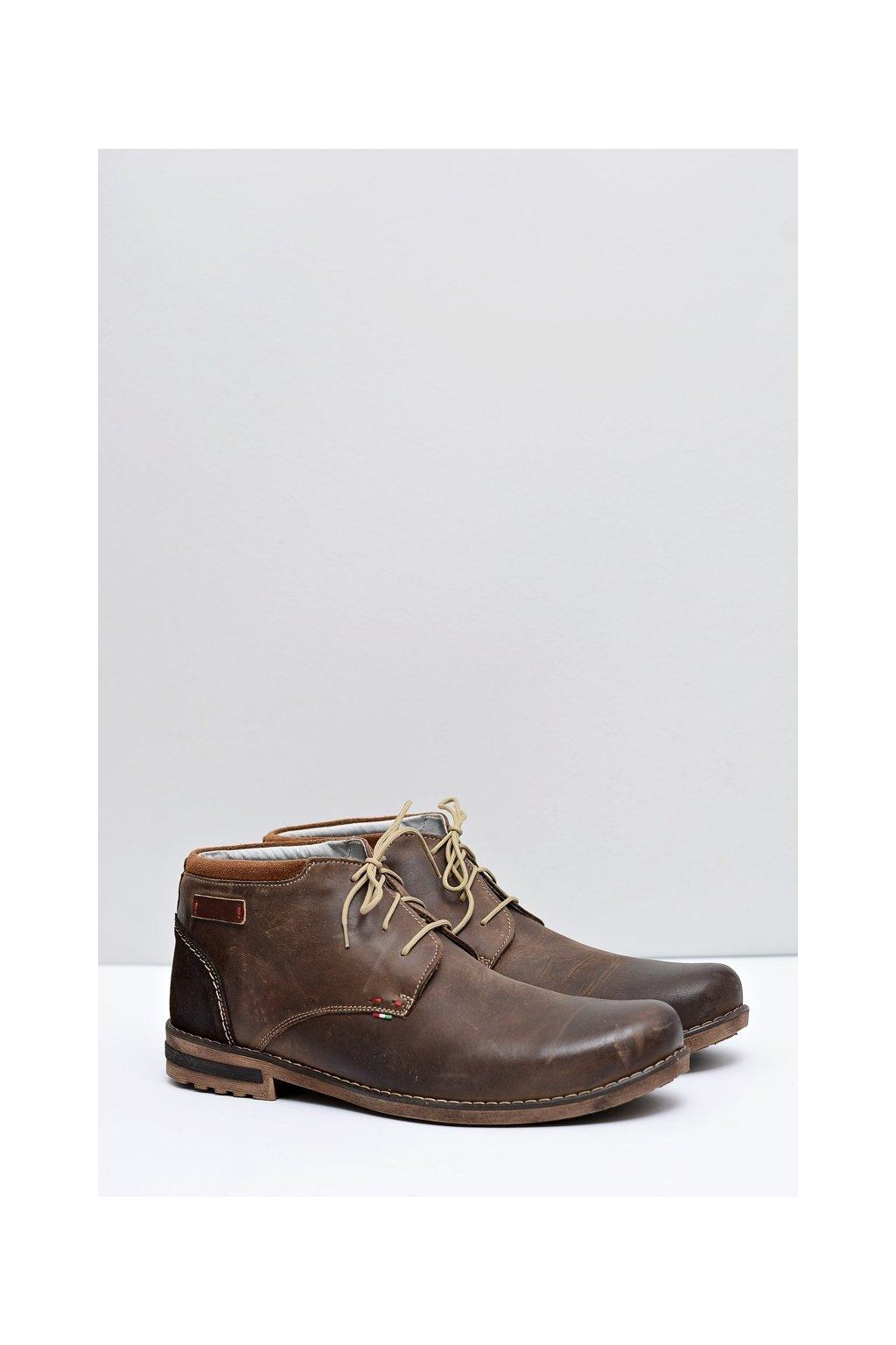 Hnedé pánske kožené topánky s kožušinou Ludokris