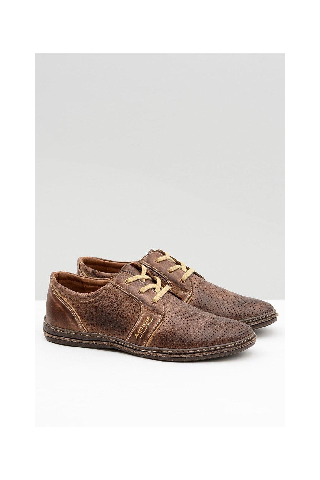 Pánske kožené krajkové hnedé perforované topánky Markos
