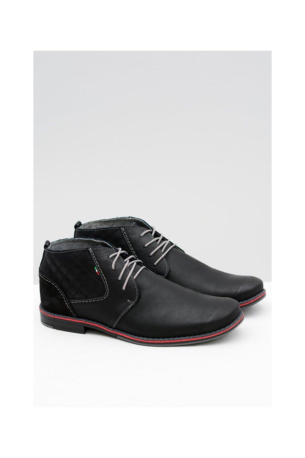 Pánske poltopánky farba čierna kód obuvi 254 BLK