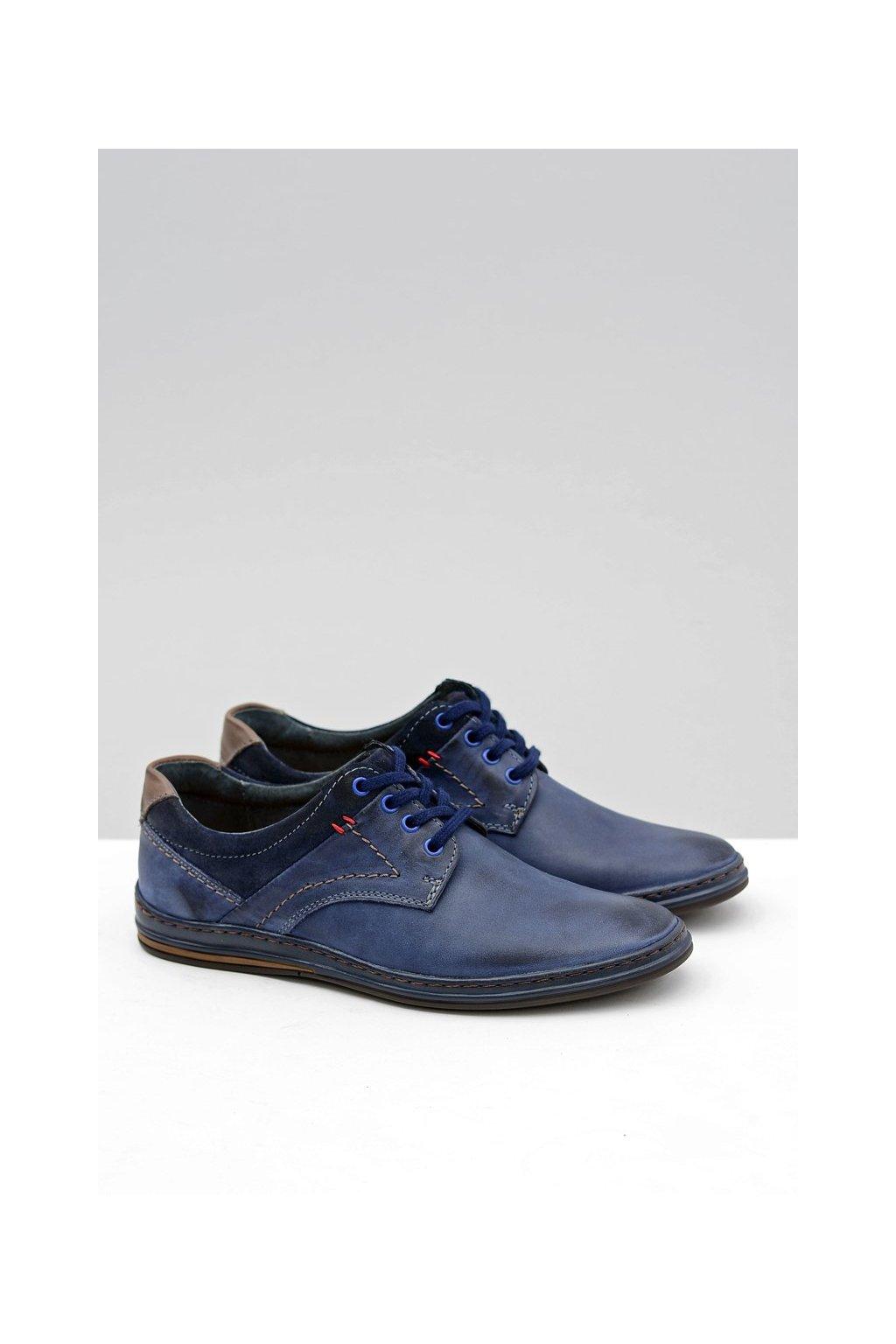 Modré kožené topánky Giuseppe