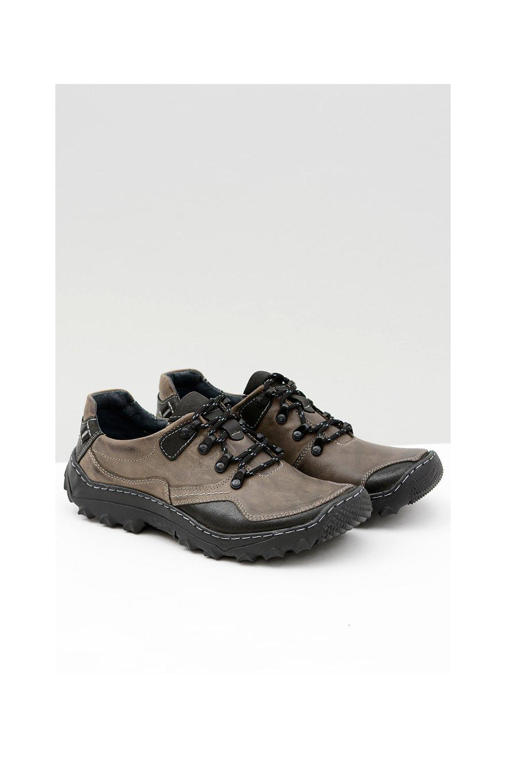 Kožené sivé trekingové poltopánky Jimmy