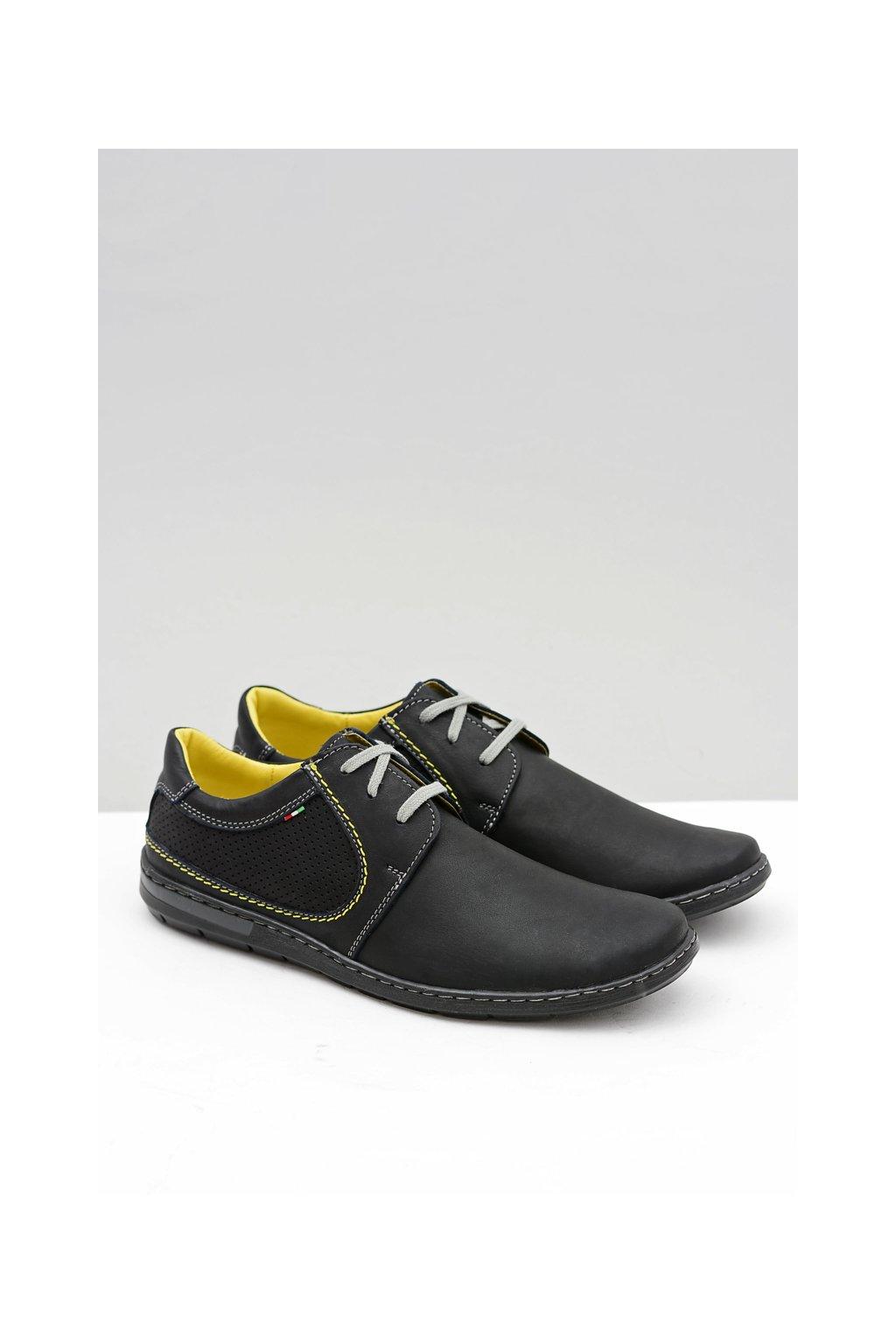 Pánska čierna perforovaná kožená obuv Vincenzo