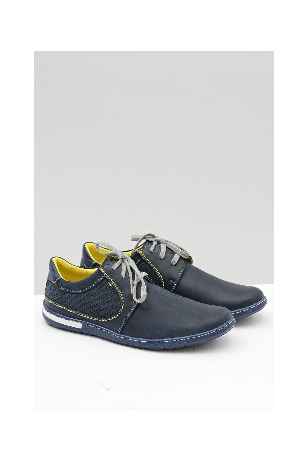 Perforovaná modrá pánska obuv kožená Vincenzo