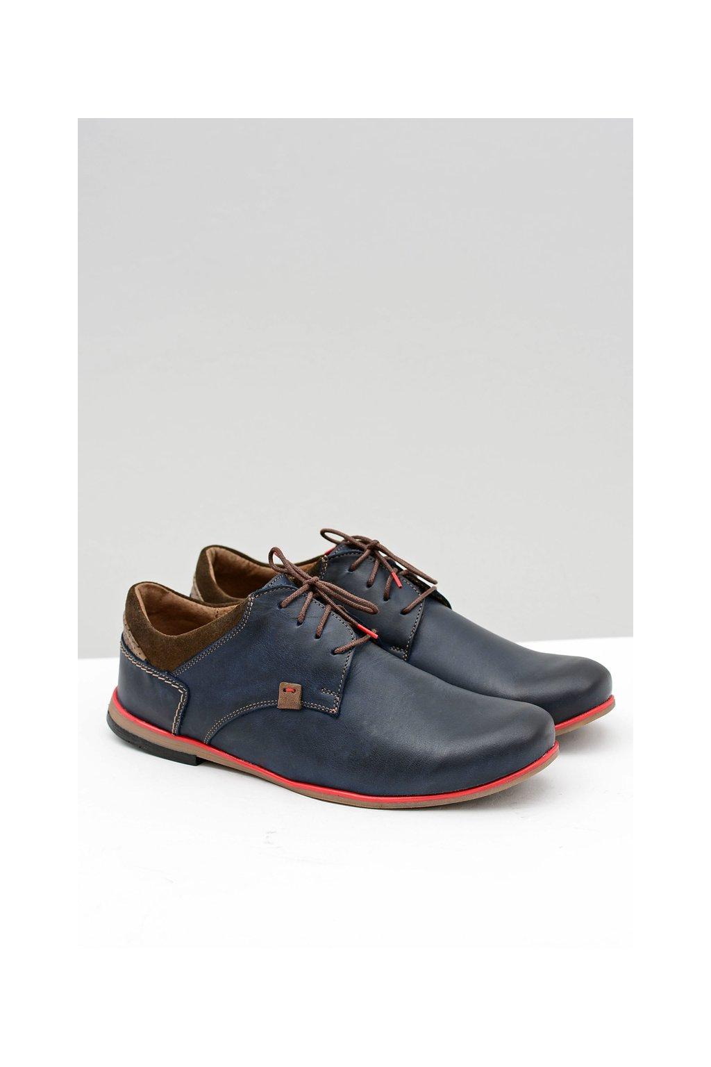 Pánska kožená modrá poľská obuv Edox