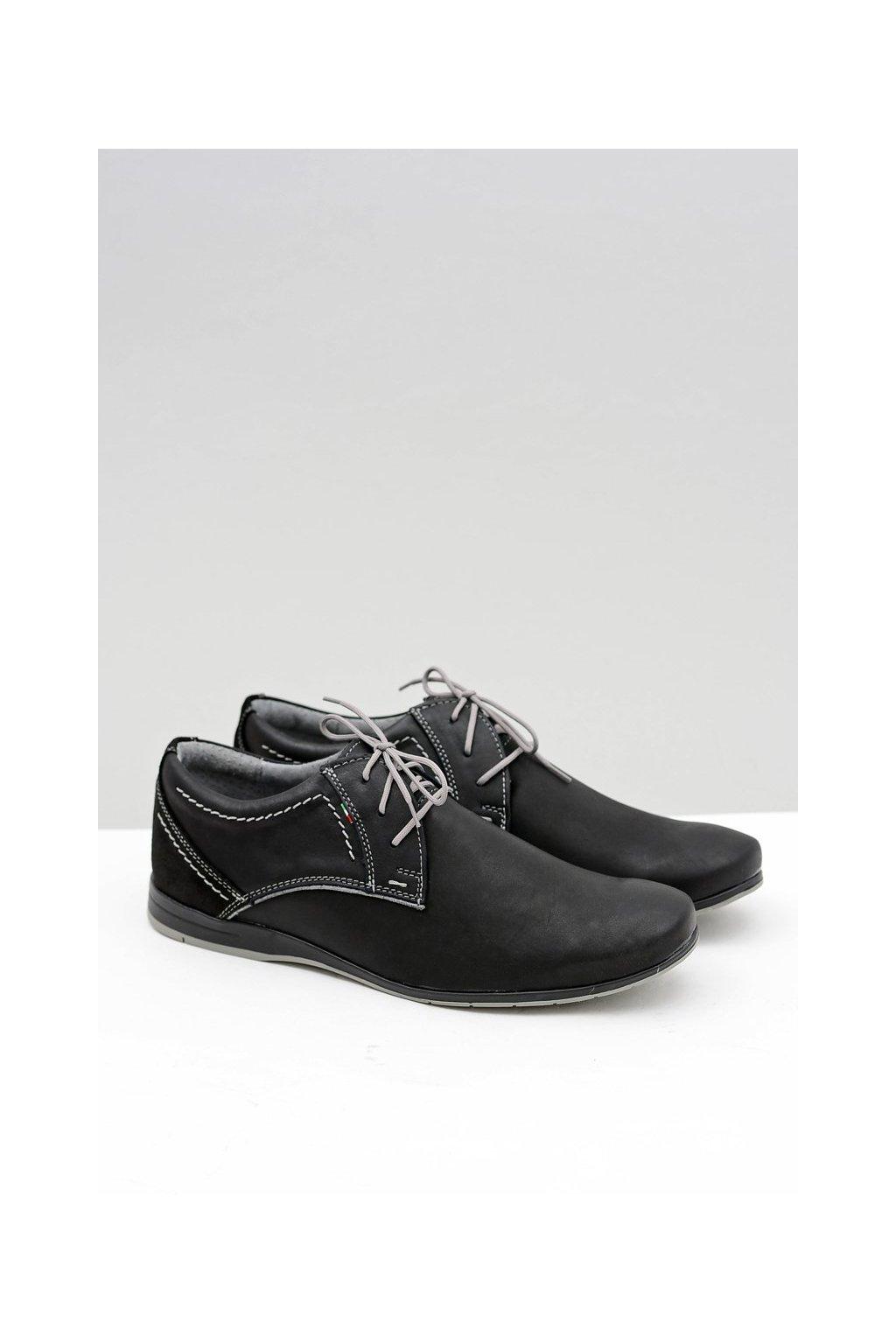 Pánska čierna šedá kožená obuv na voľný čas