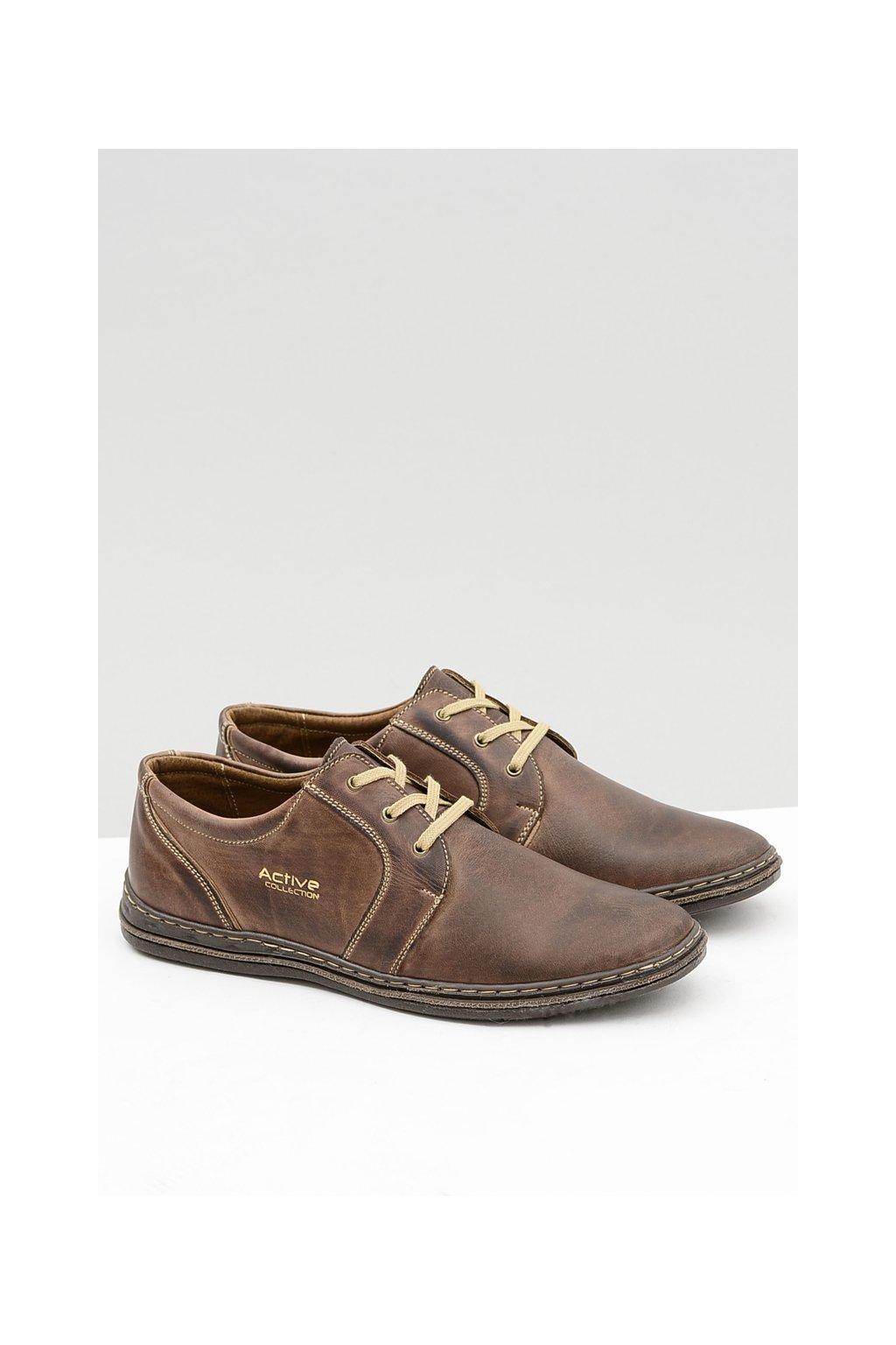 Hnedé kožené pánske topánky Marko