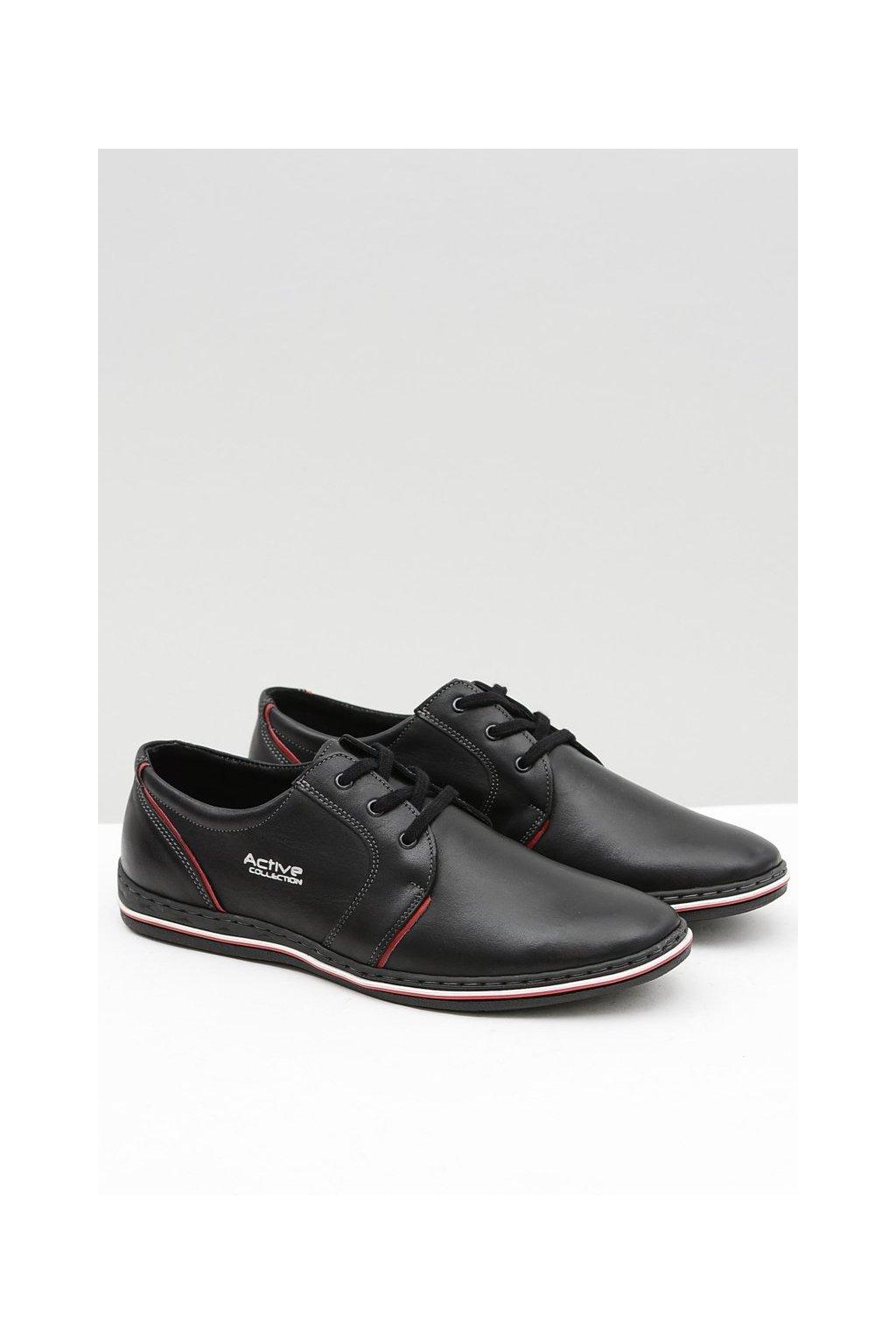 Čierne kožené pánske topánky Marko