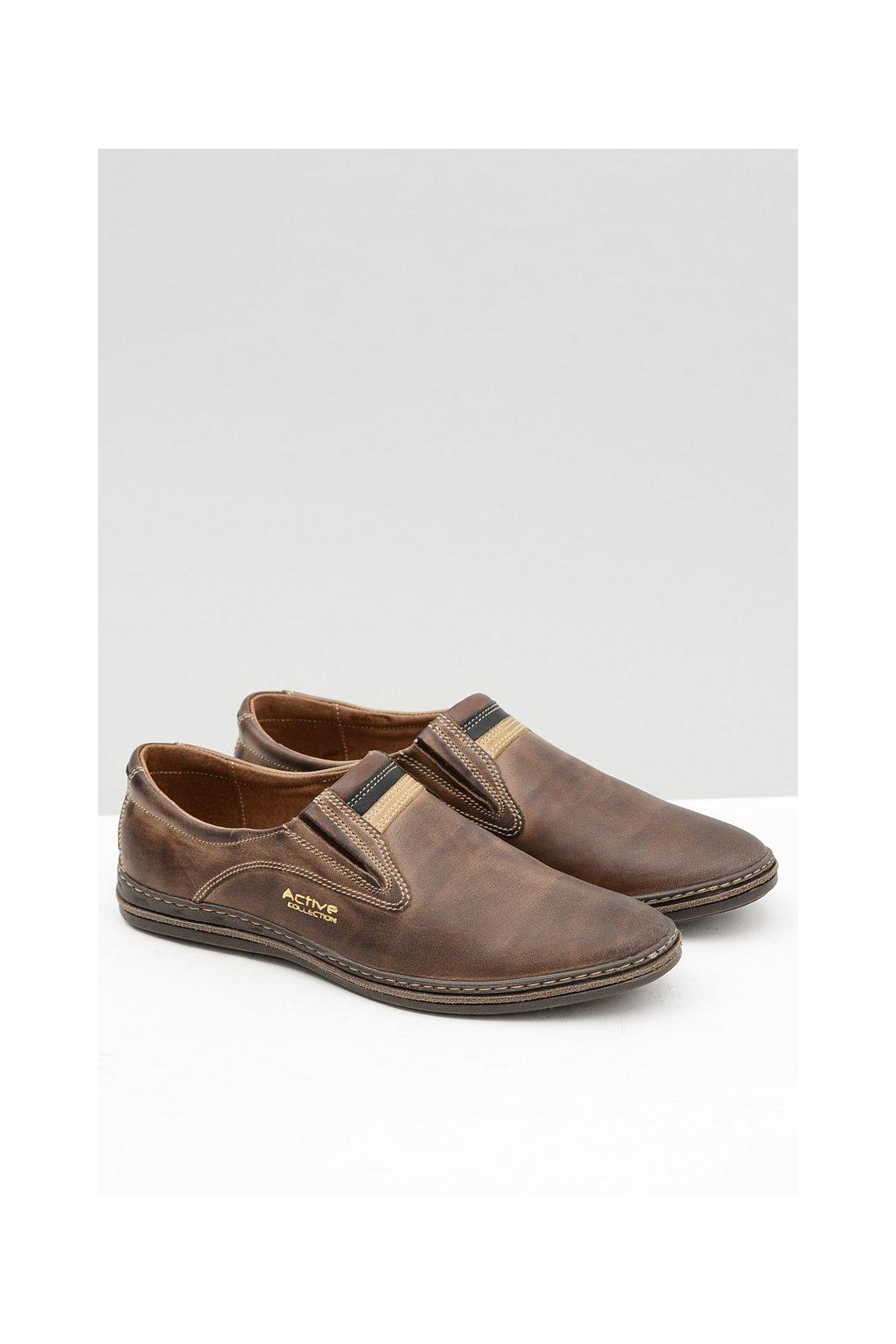 Slip-on kožené hnedé pánske topánky Mellos