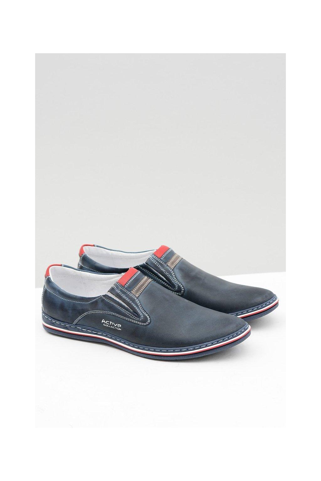 Tmavo modré Slip-on kožené čierne pánske topánky Mellos