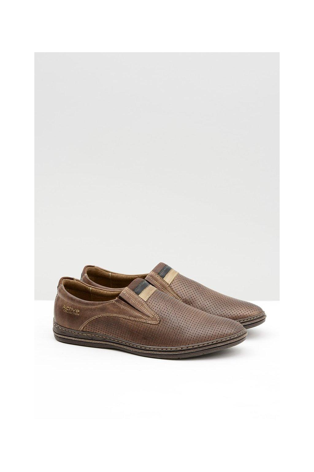 Kožené pánske hnedé perforované topánky slip-on Mello