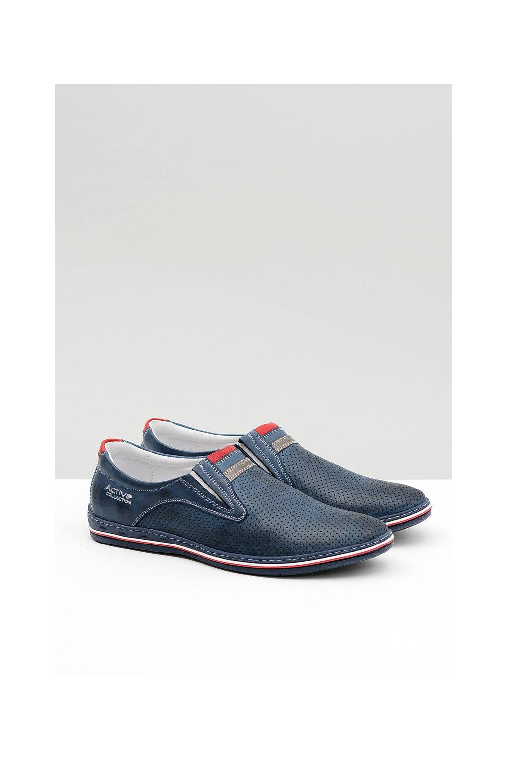Kožené pánske perforované topánky slip-on Mello