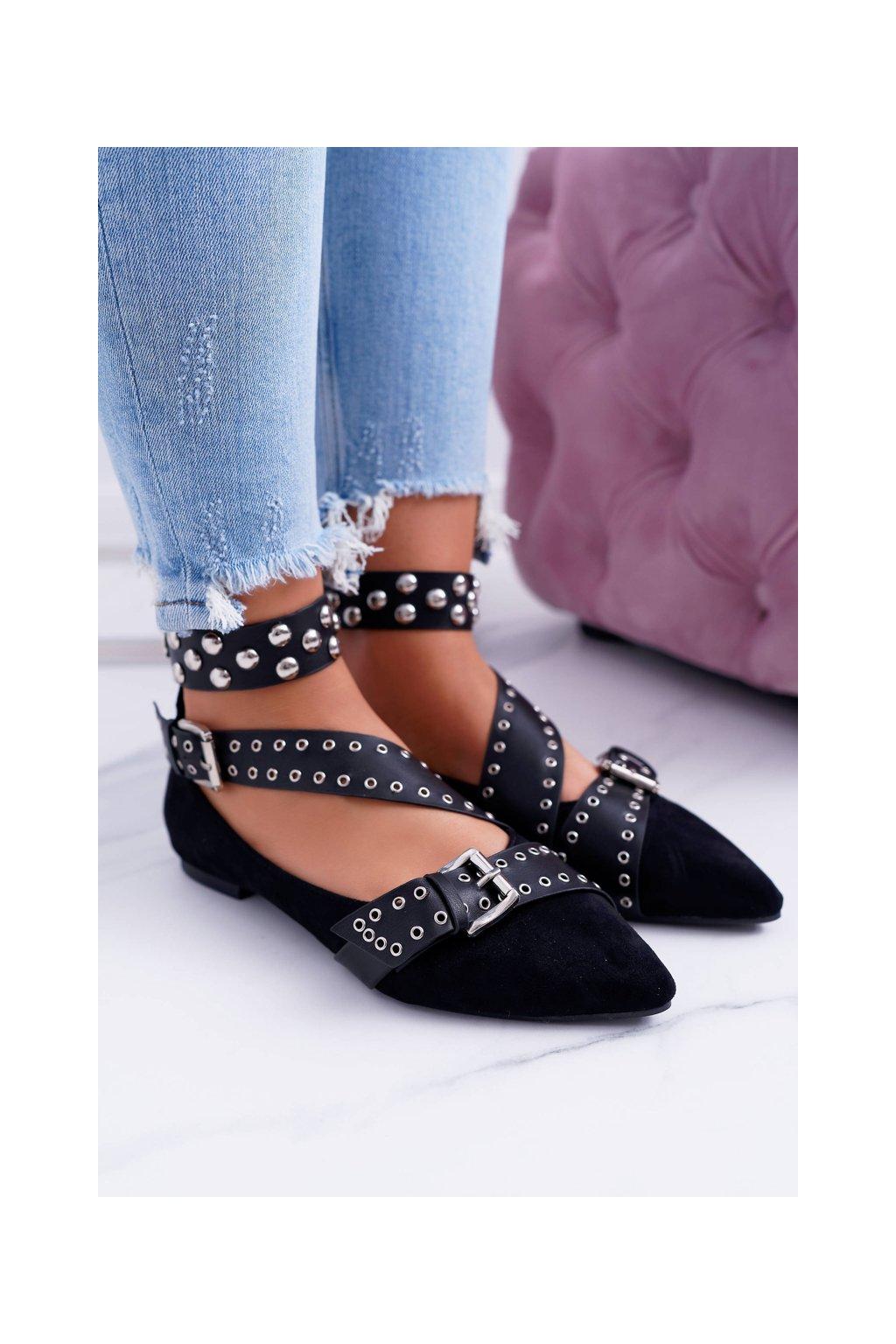 Dámske balerínky farba čierna kód obuvi B12-8 BLACK