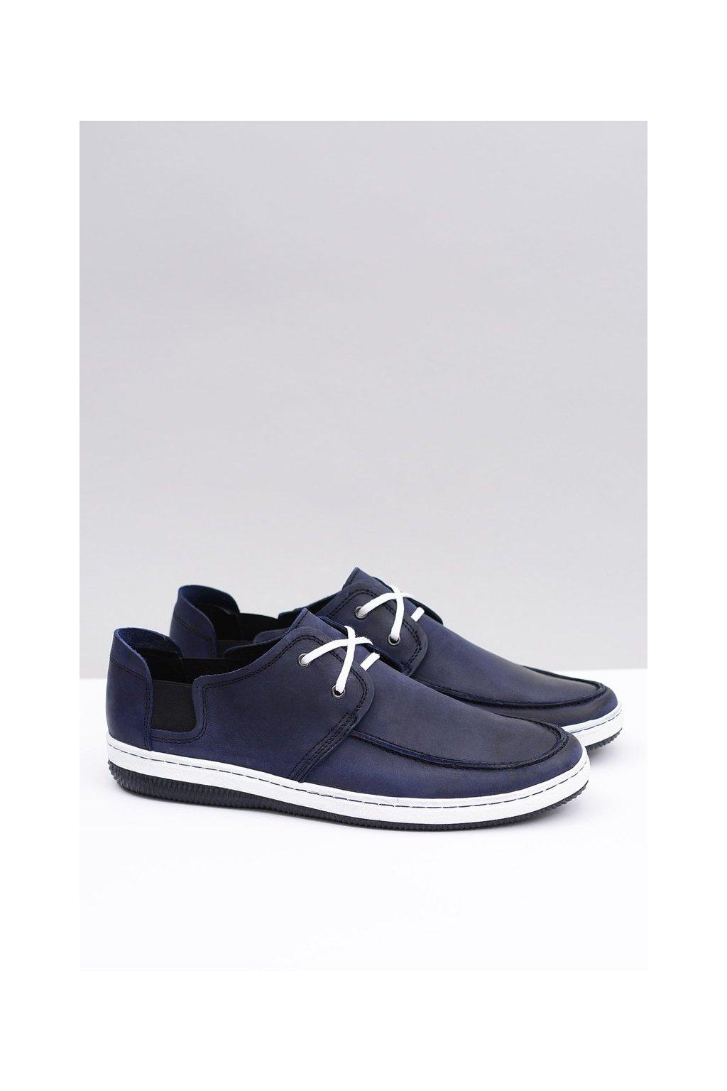 Kožená modrá poľská pánska obuv Gomez