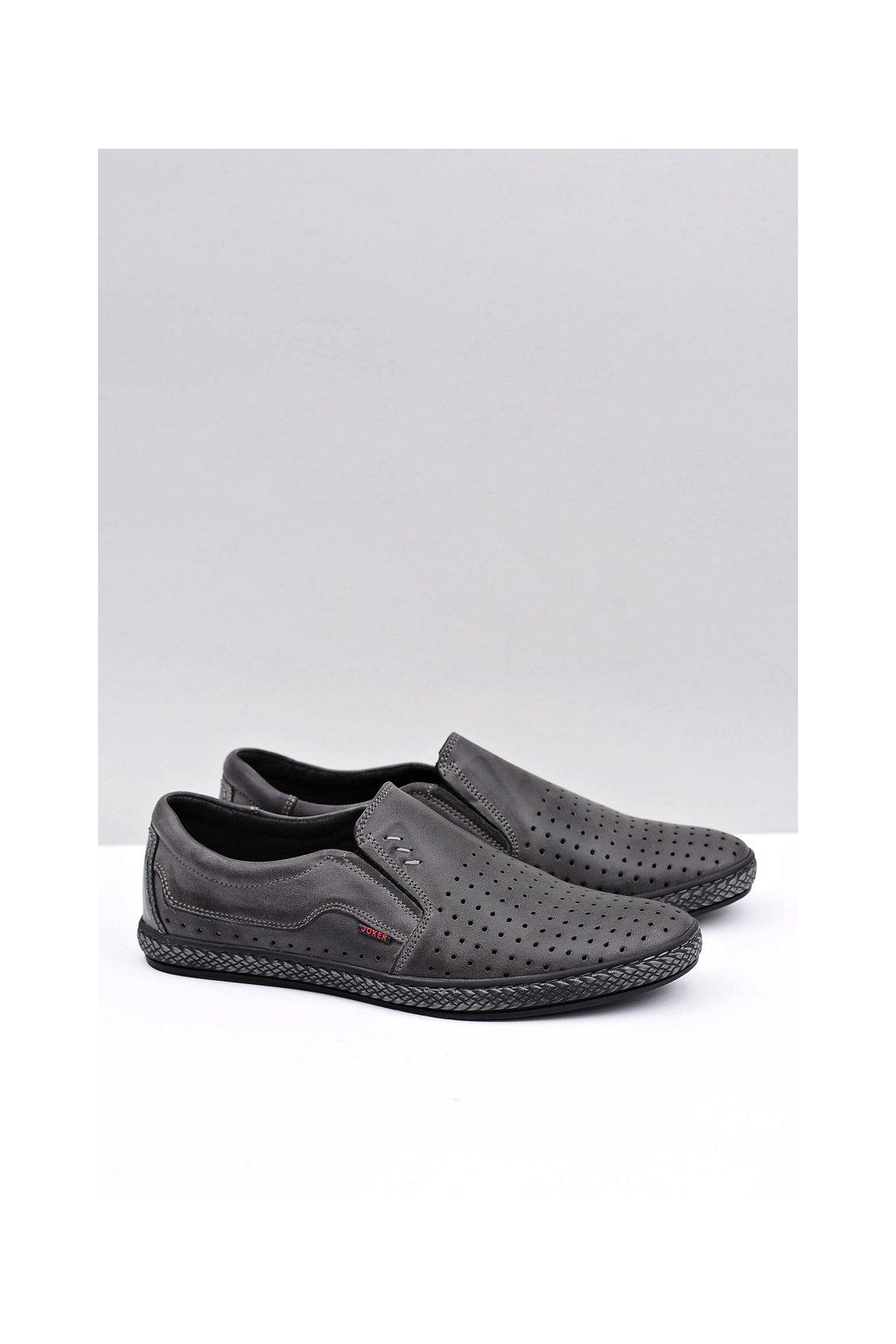 Pánske šedé kožené topánky Bruno