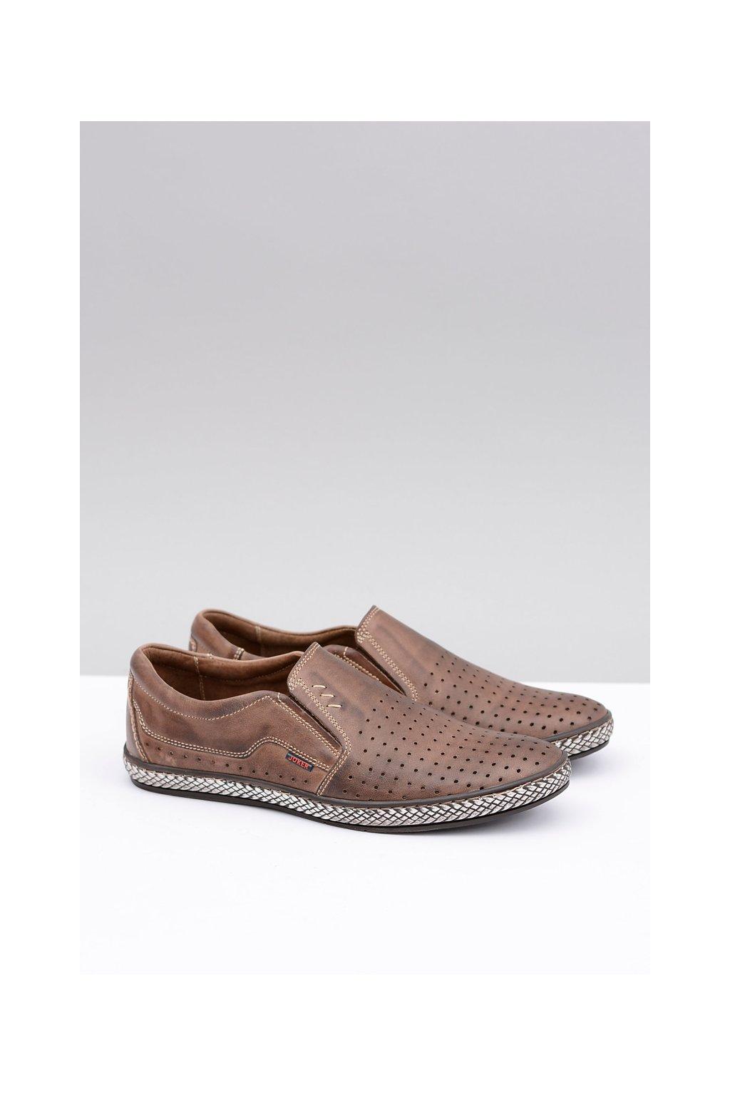 Poľské vsuvky pánske hnedé kožené topánky Bruno