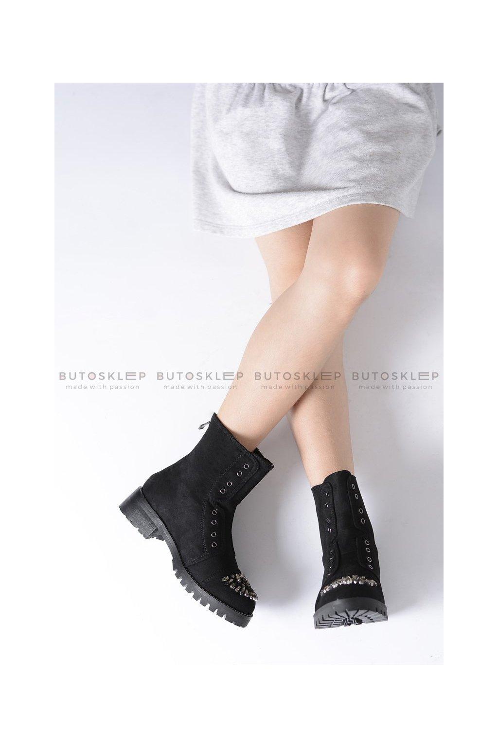 Detské členkové topánky farba čierna kód obuvi XW37279C BLK